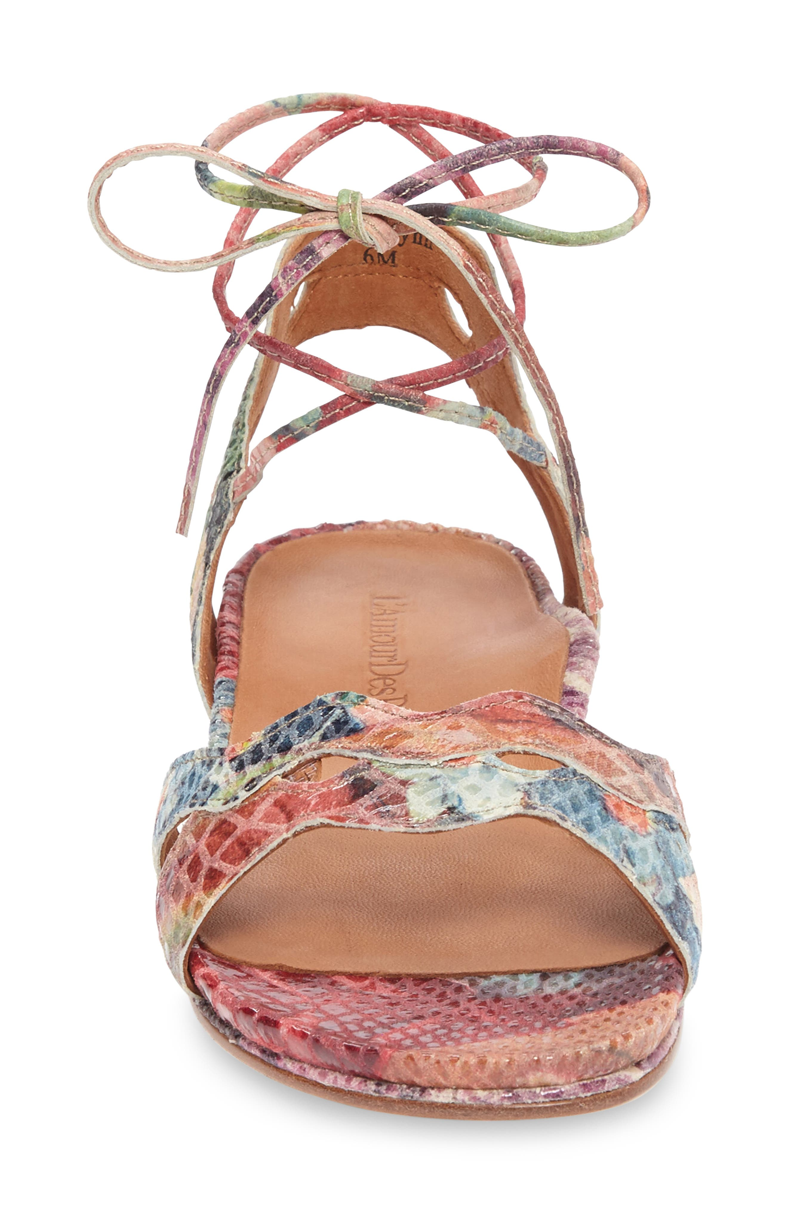 Darrylynn Wraparound Lace-Up Sandal,                             Alternate thumbnail 3, color,                             Bright Multi Printed Leather