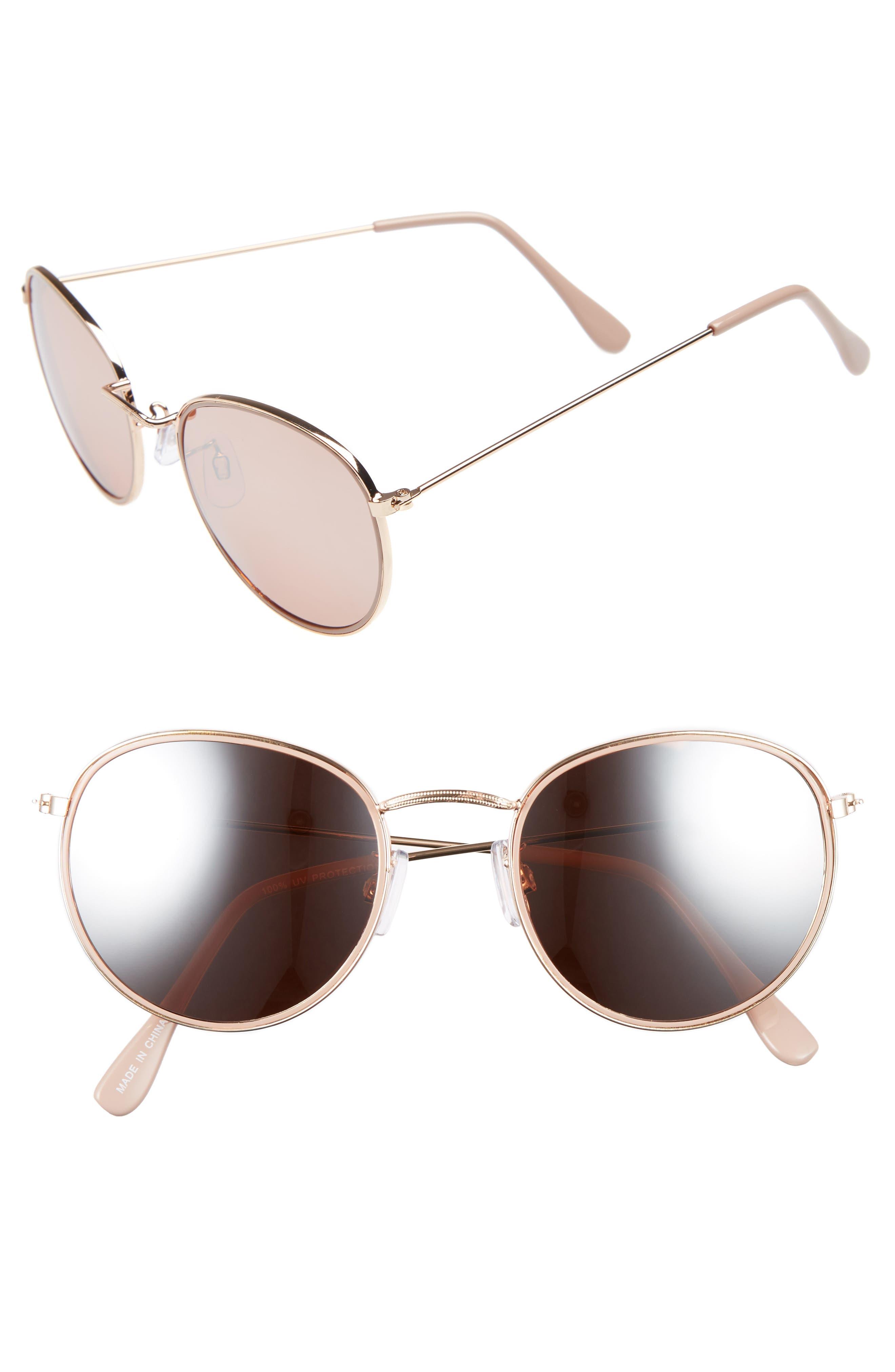 50mm Round Aviator Sunglasses,                         Main,                         color, Rose Gold