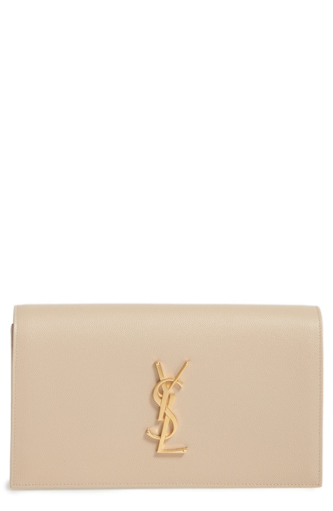 Saint Laurent 'Monogram' Leather Clutch