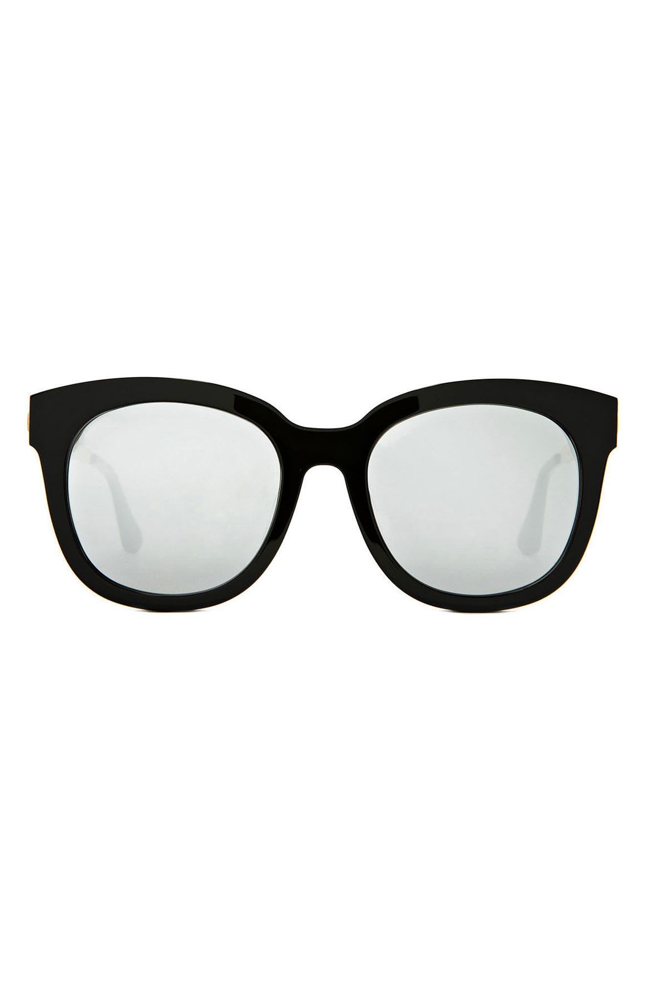 Cuba 55mm Sunglasses,                             Main thumbnail 1, color,                             Black/Silver