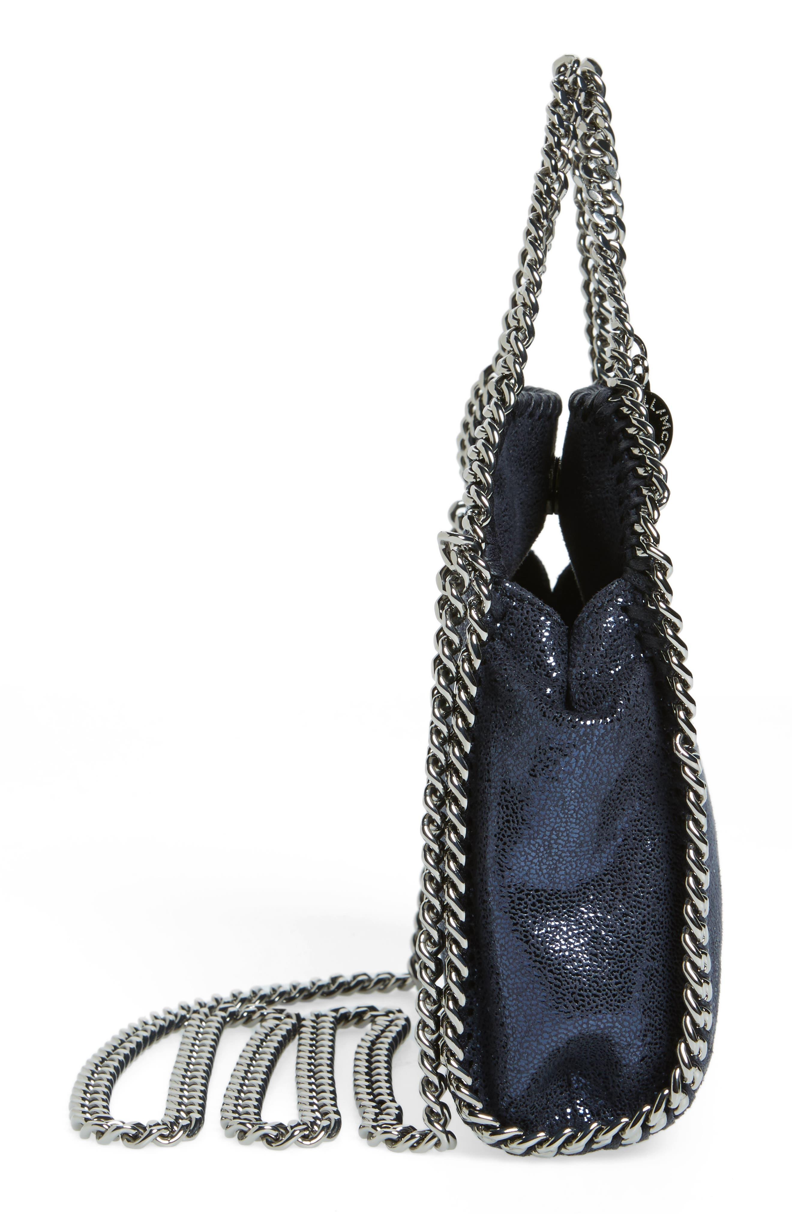 'Tiny Falabella' Metallic Faux Leather Crossbody Bag,                             Alternate thumbnail 4, color,                             Ink