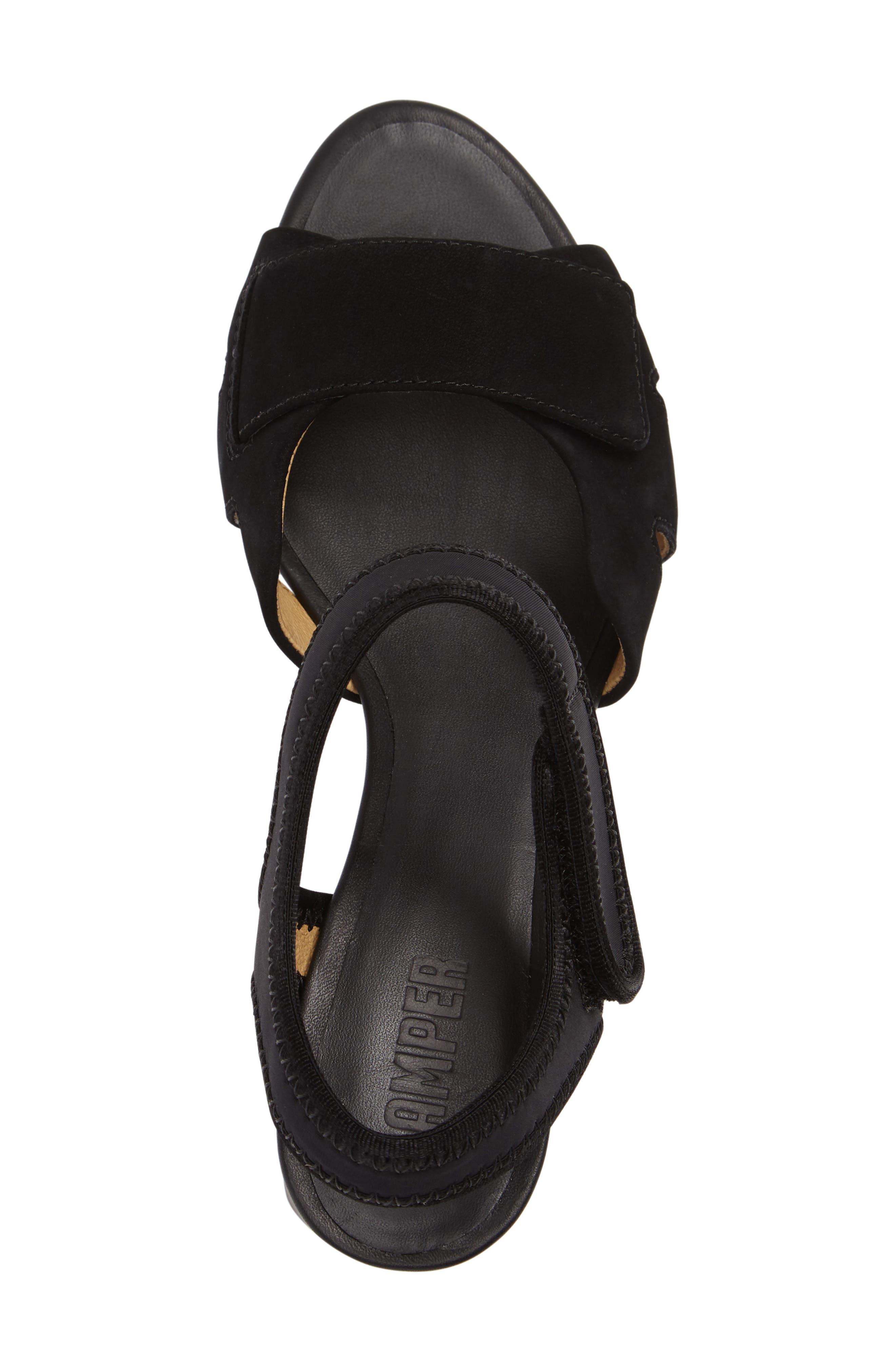 'Myriam' Ankle Strap Platform Sandal,                             Alternate thumbnail 3, color,                             Black/ Black Leather