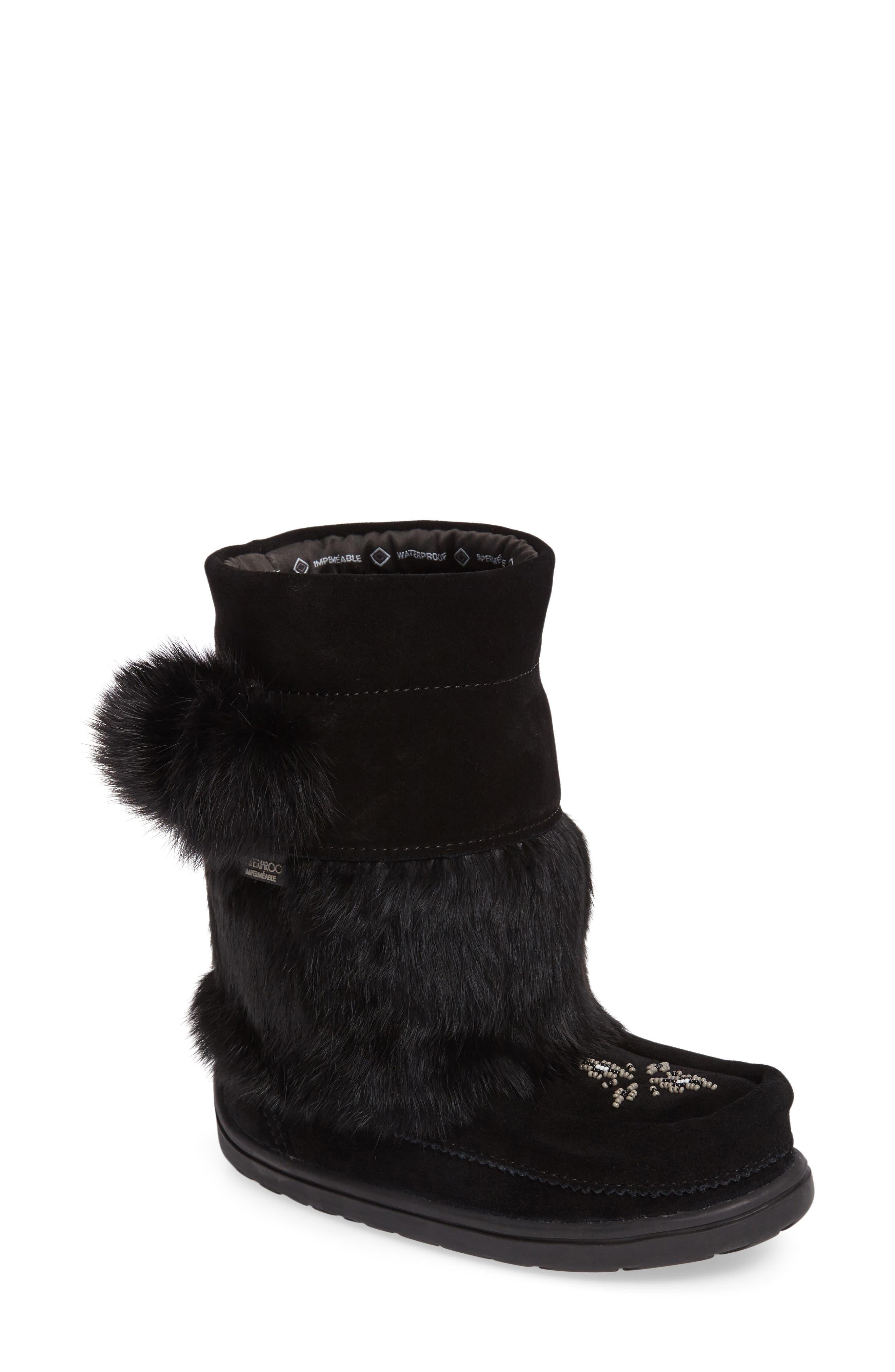 Main Image - Manitobah Mukluks Snowy Owlet Genuine Fur Waterproof Boot (Walker, Toddler & Little Kid)