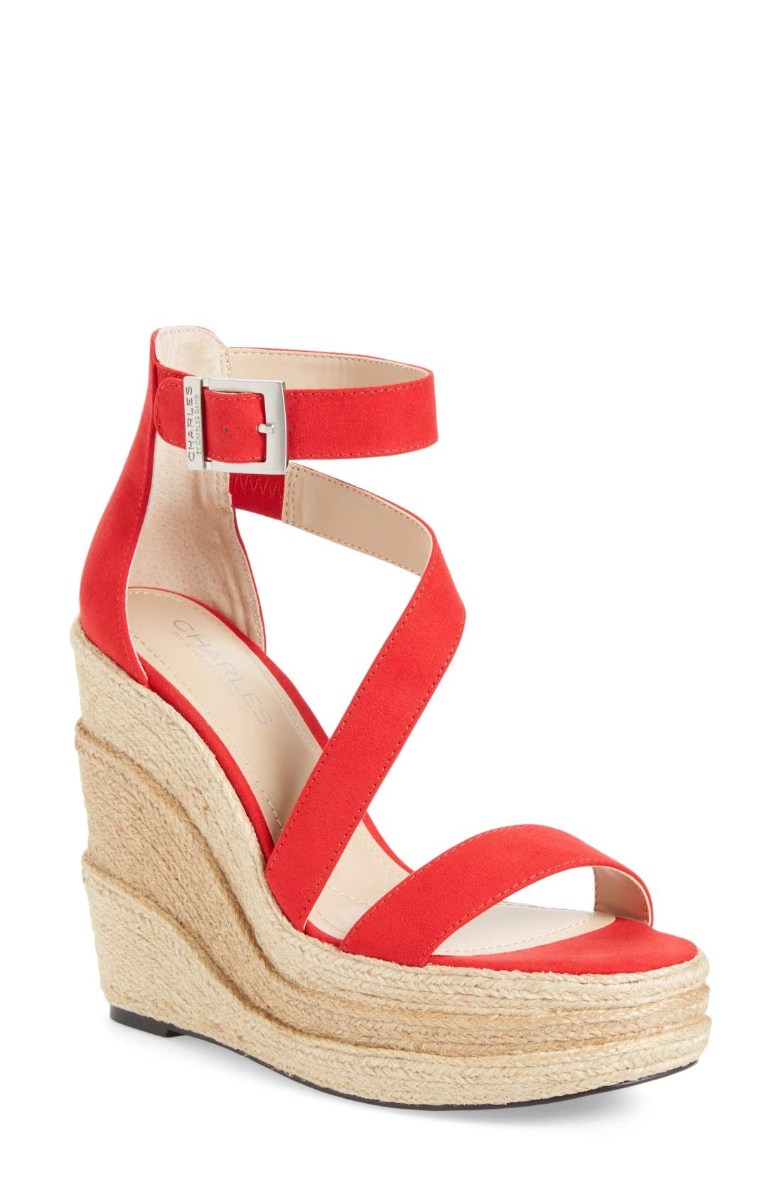 Thunder Wedge Sandal,                         Main,                         color, Red Micro Suede