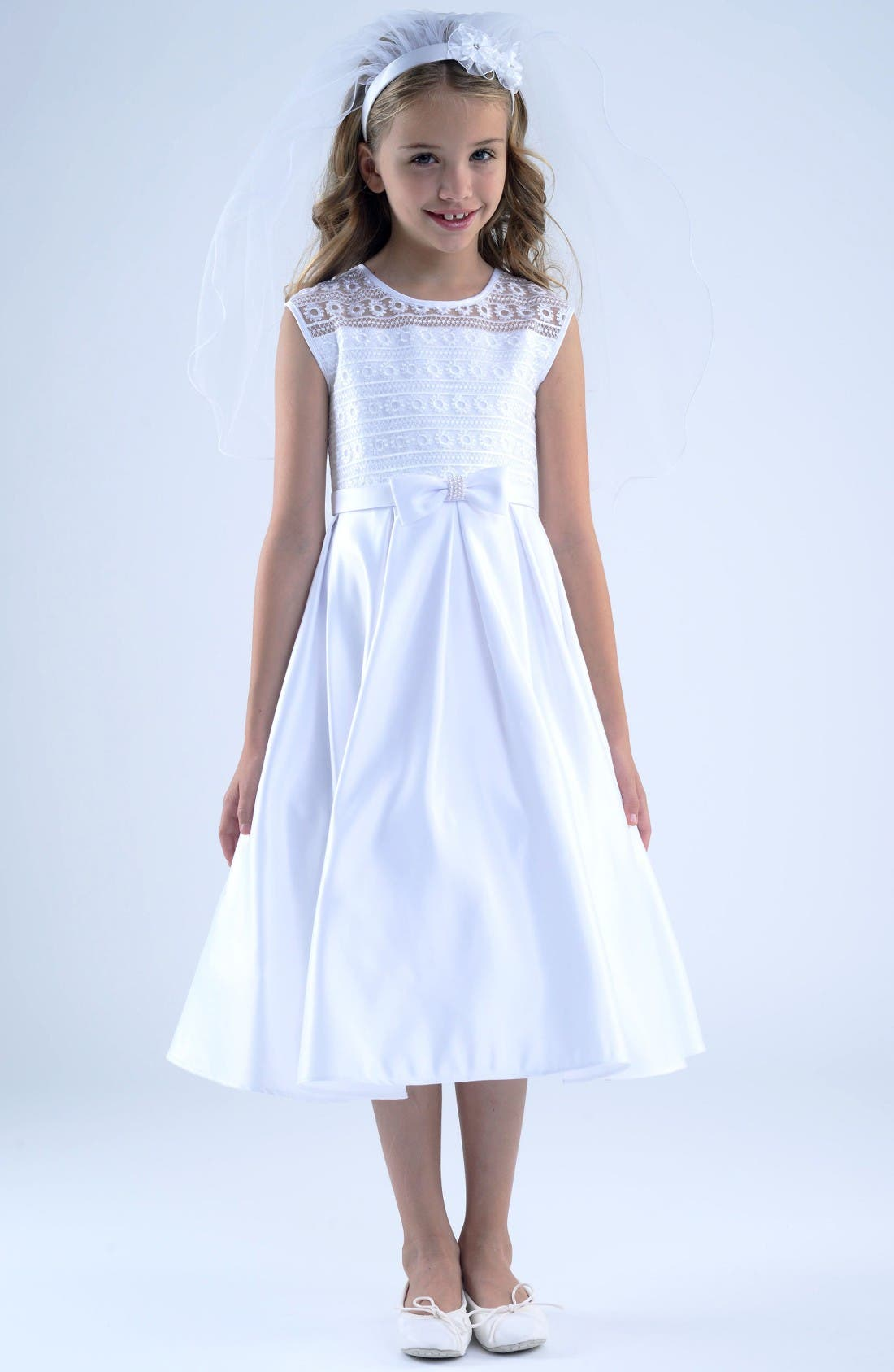 First Communion Dress,                             Main thumbnail 1, color,                             White