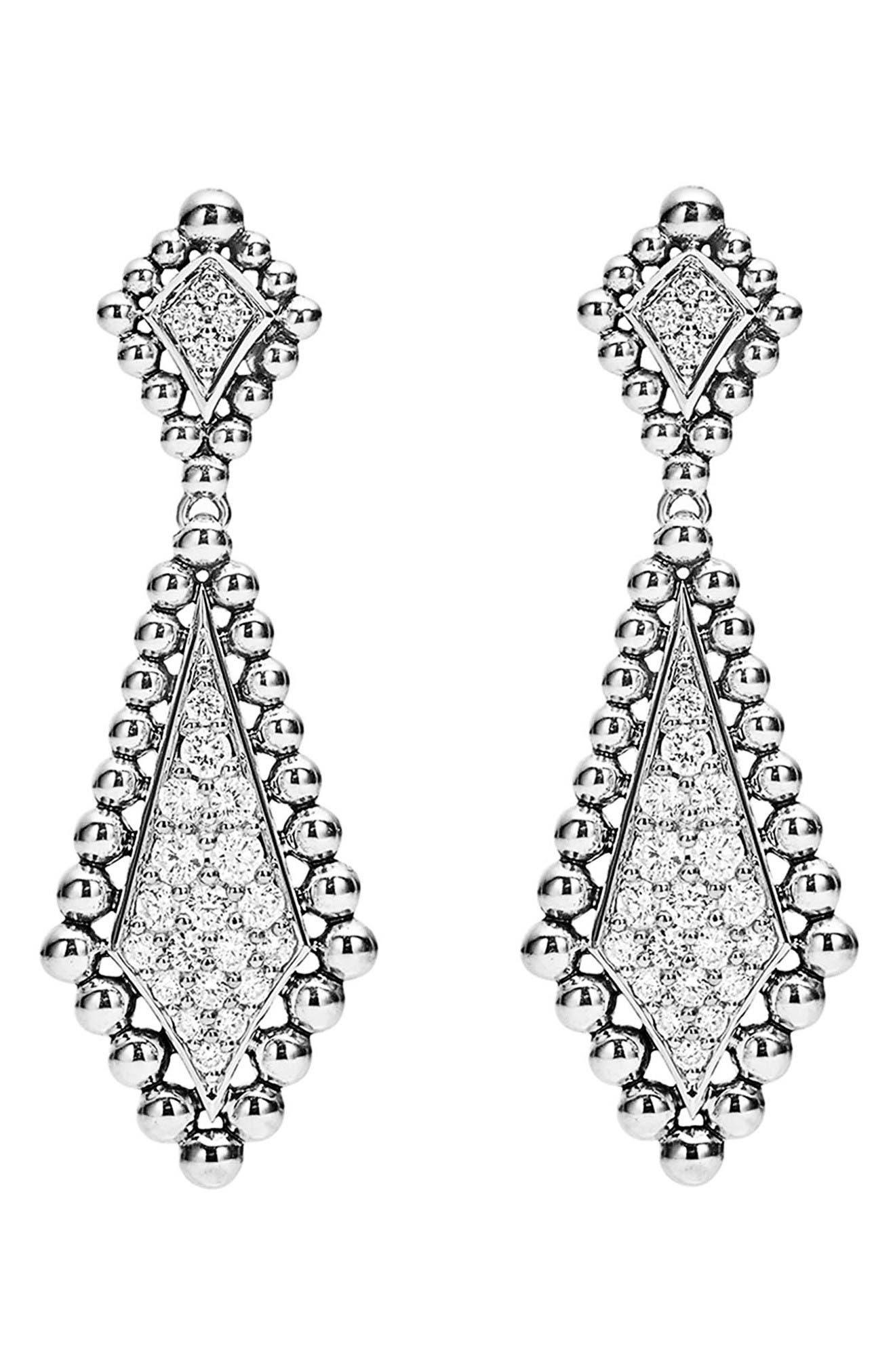 Caviar Spark Diamond Drop Earrings,                             Alternate thumbnail 2, color,                             Silver/ Diamond