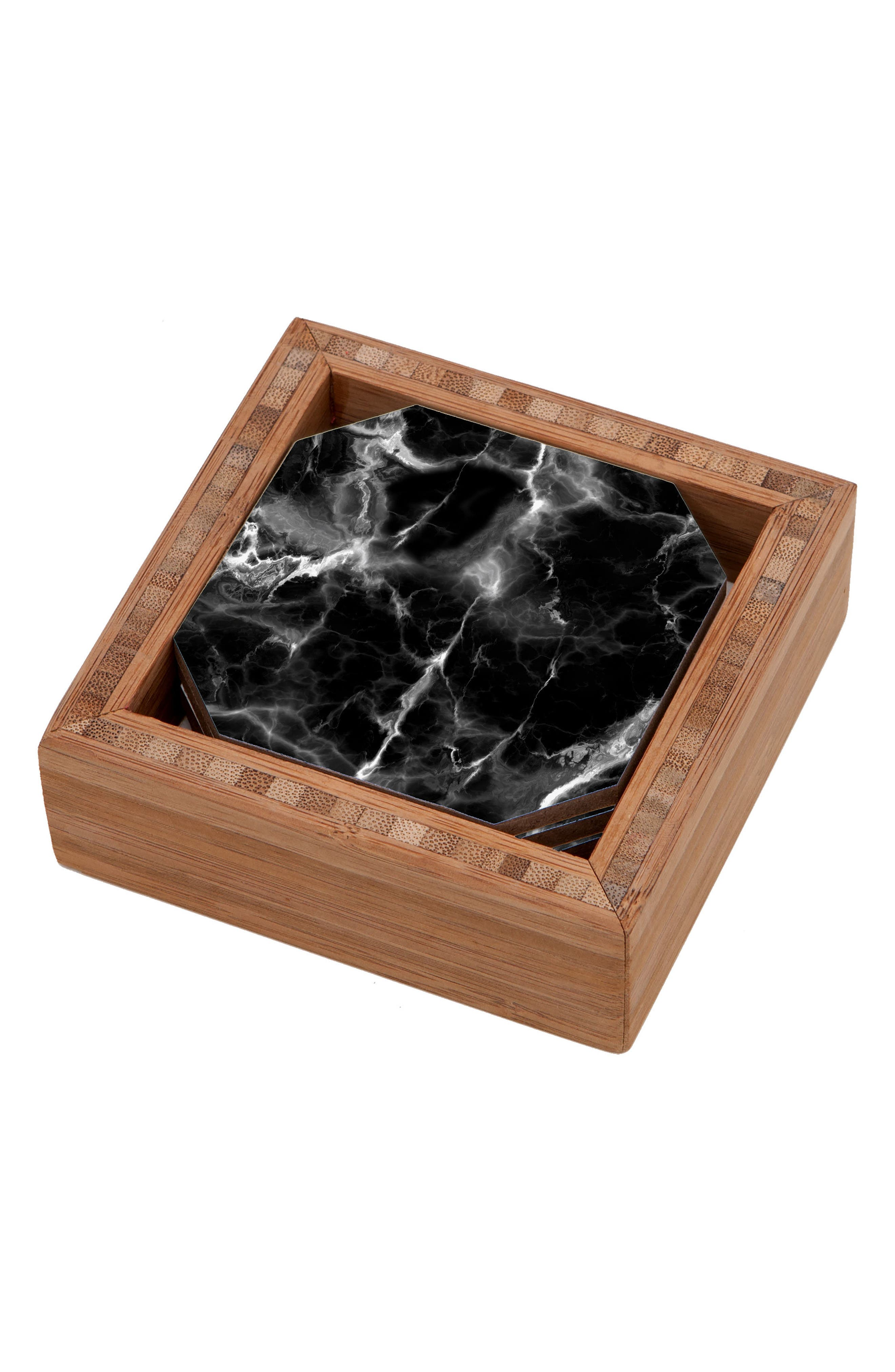 Marble No. 2 Set of 4 Coasters,                         Main,                         color, Black