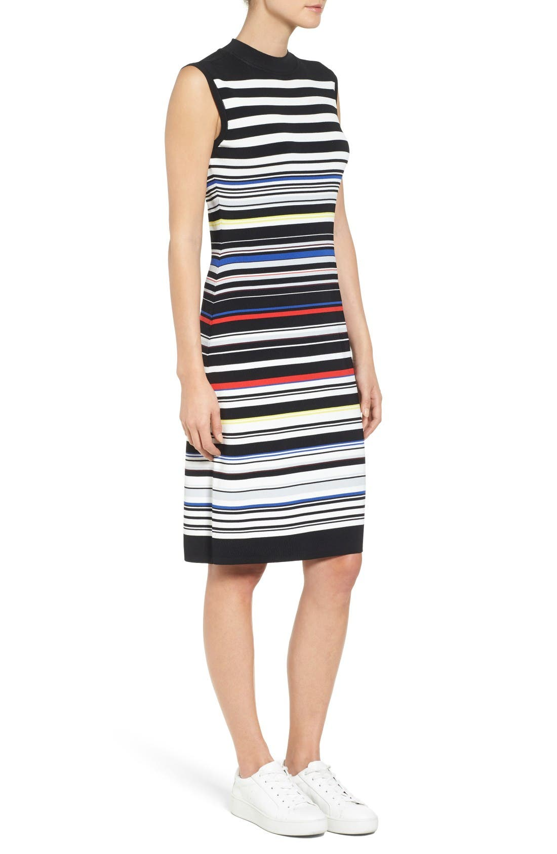 Sleeveless Mock Neck Knit Dress,                             Alternate thumbnail 4, color,                             Black- Red Stripe