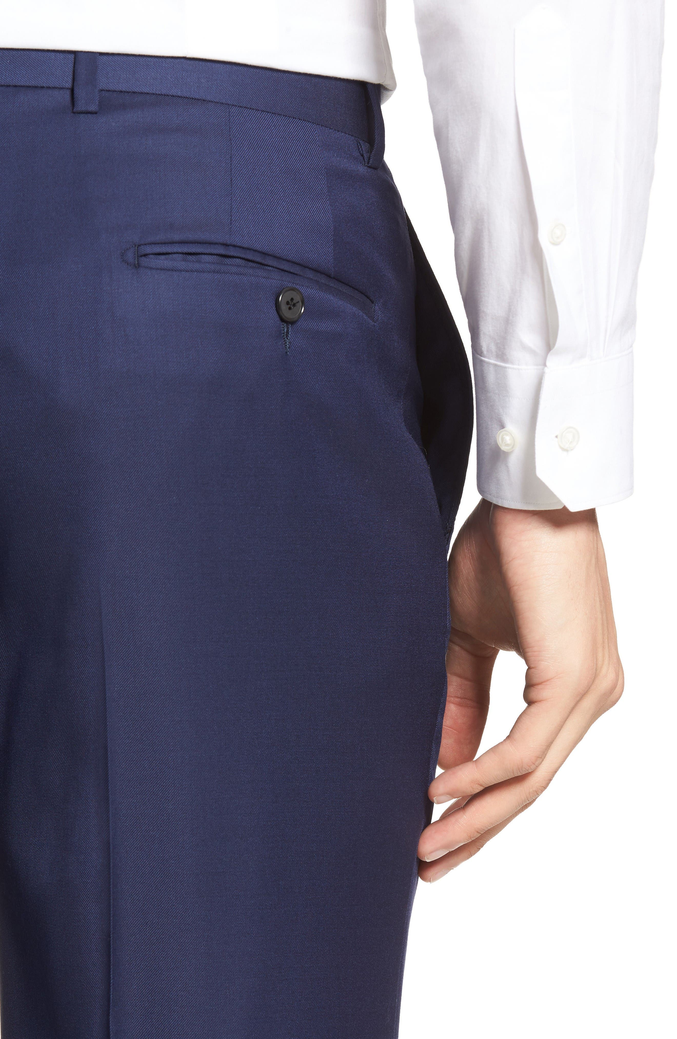 Alternate Image 4  - Hickey Freeman Classic B Fit Flat Front Solid Wool Trousers