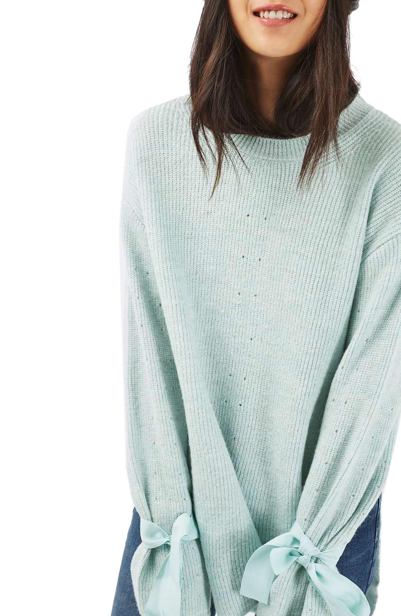 Alternate Image 3  - Topshop Tie Cuff Sweater (Regular & Petite)