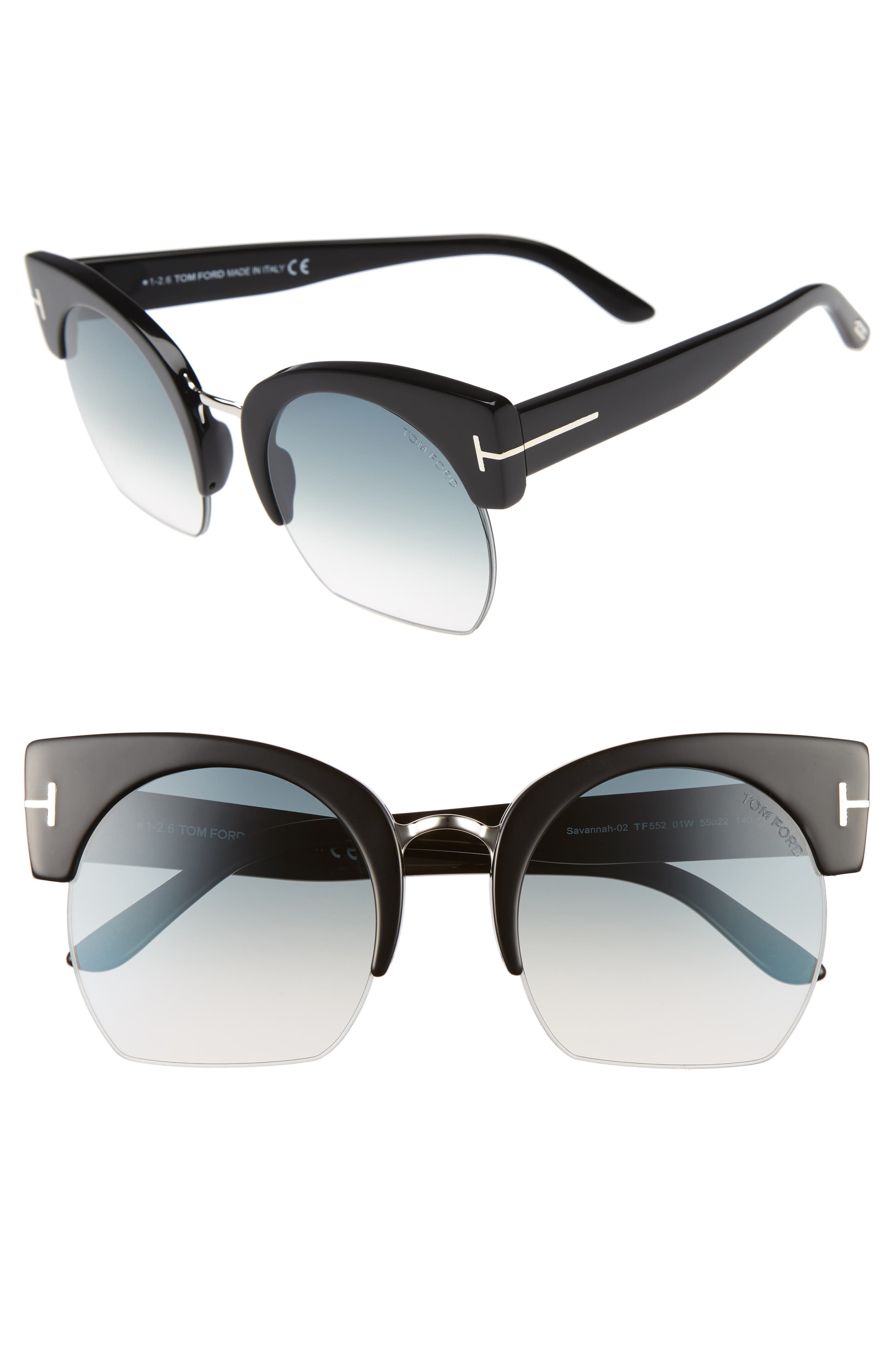 Alternate Image 1 Selected - Tom Ford Savannah 55mm Cat Eye Sunglasses