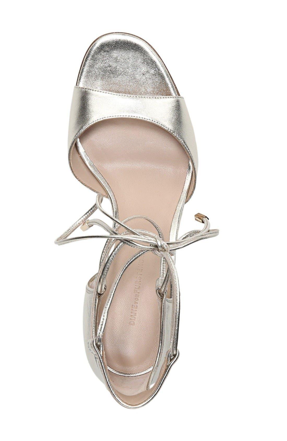 'Rimini' Ankle Wrap Sandal,                             Alternate thumbnail 6, color,                             Platino