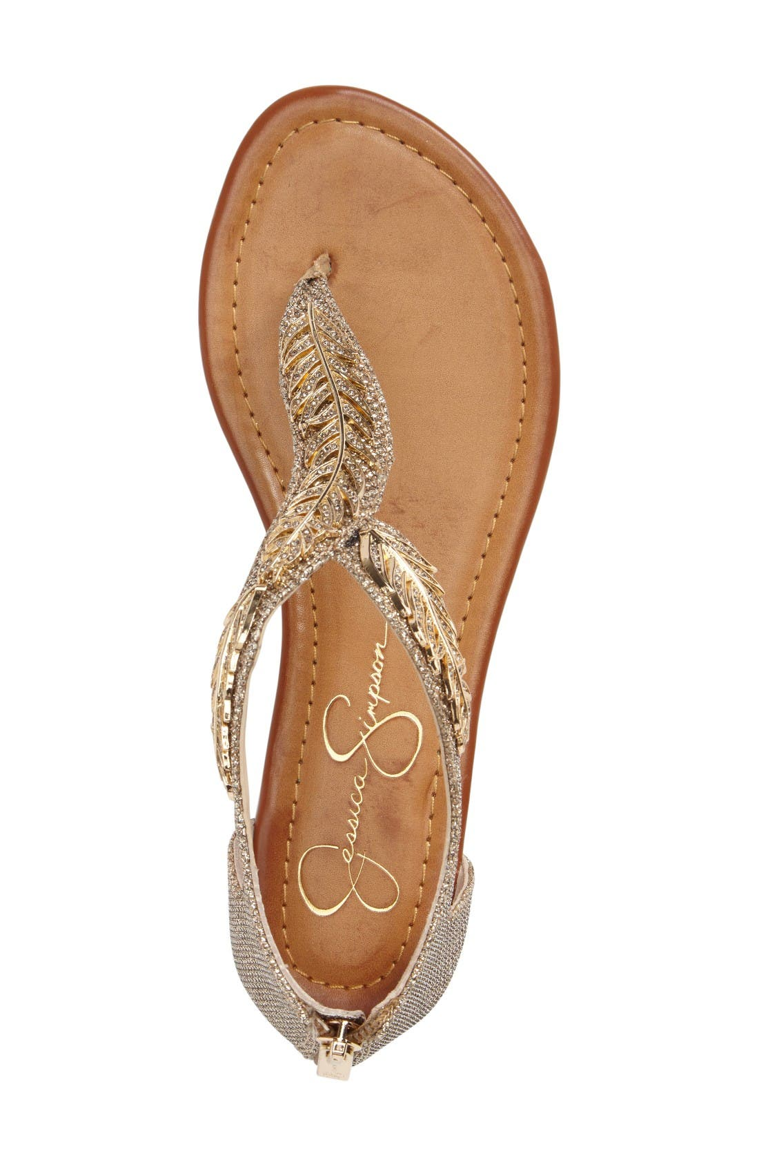 Kalie Embellished Feather Sandal,                             Alternate thumbnail 3, color,                             Gold Fabric