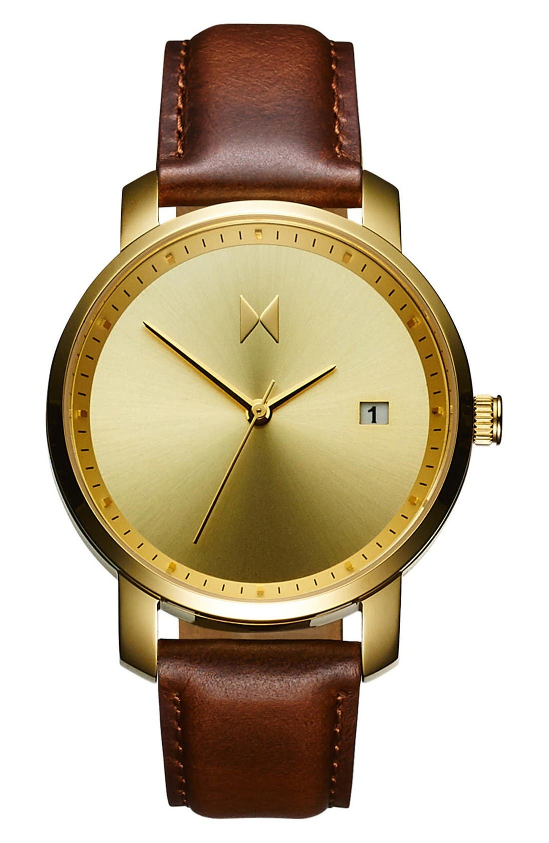 Leather Strap Watch, 38mm,                         Main,                         color, Brown/ Gold