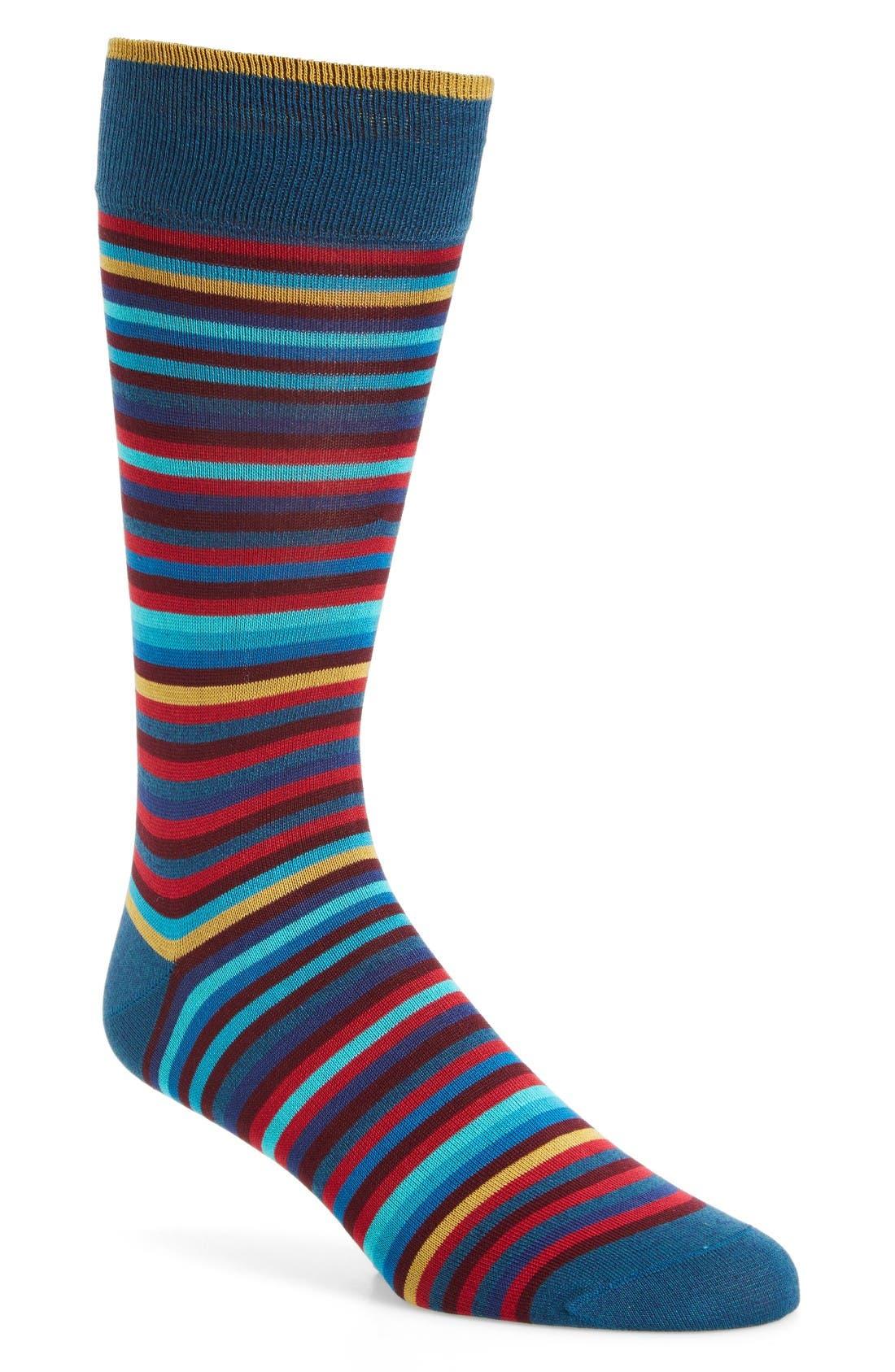 BUGATCHI Multicolor Stripe Socks