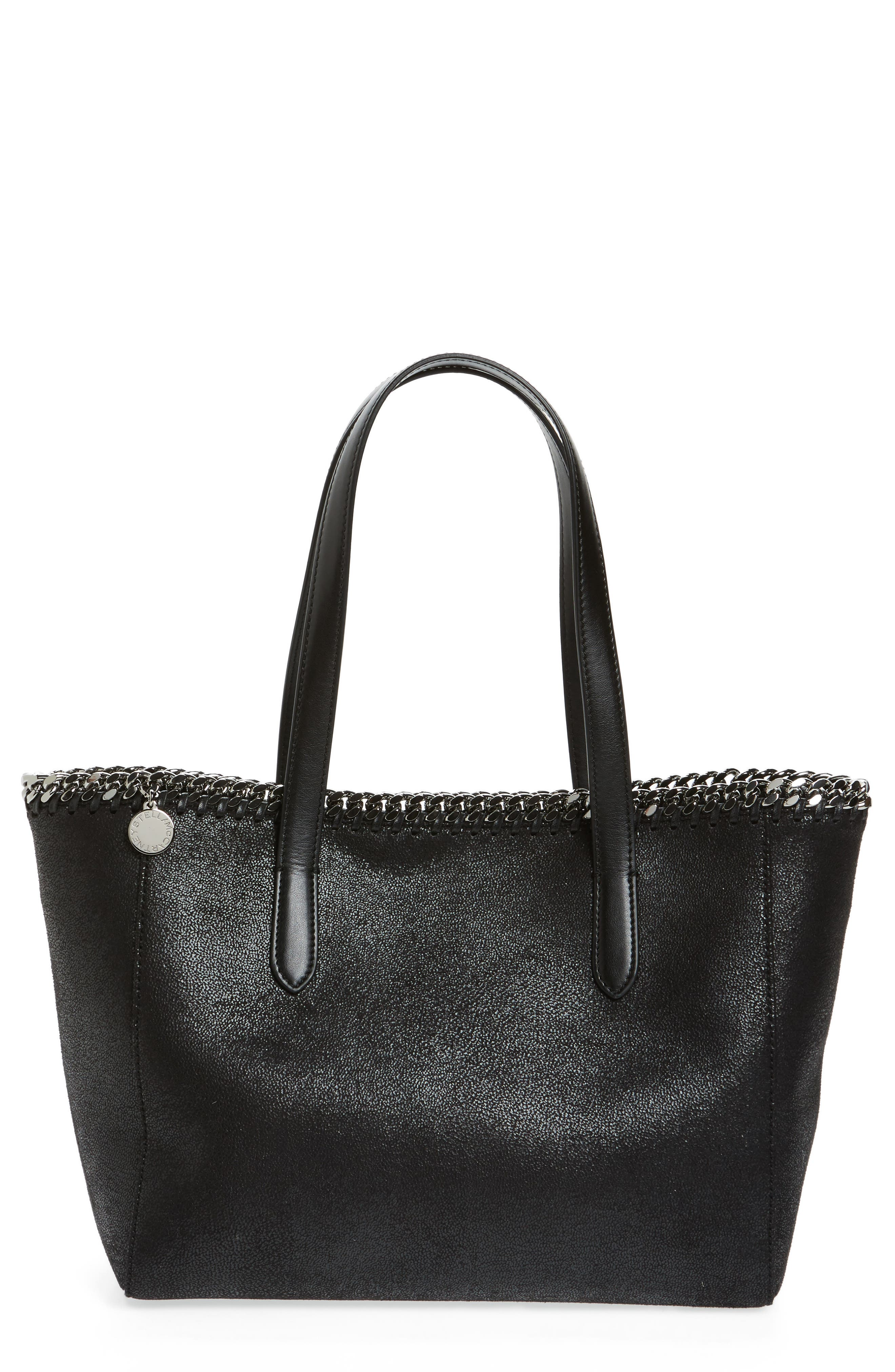 Small Falabella Shaggy Deer Faux Leather Tote,                             Main thumbnail 1, color,                             Black