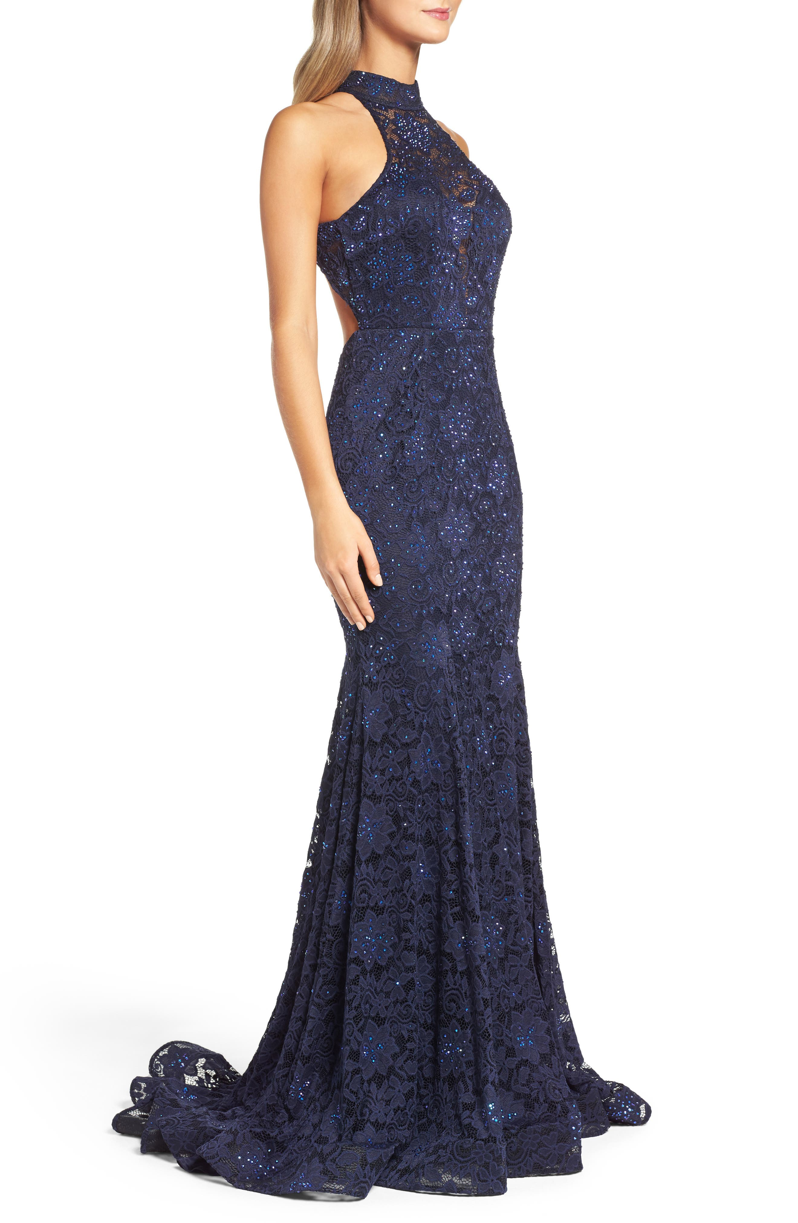 Rhinestone Lace Gown,                             Alternate thumbnail 3, color,                             Navy