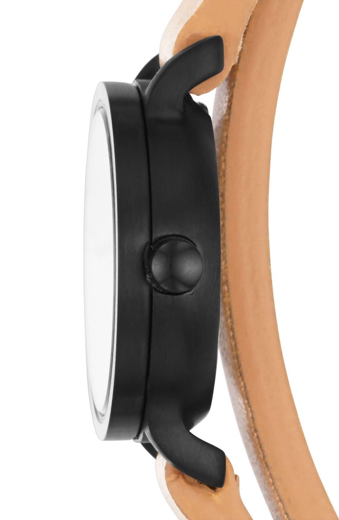 Alternate Image 2  - Skagen Hagen Round Wrap Leather Strap Watch, 20mm