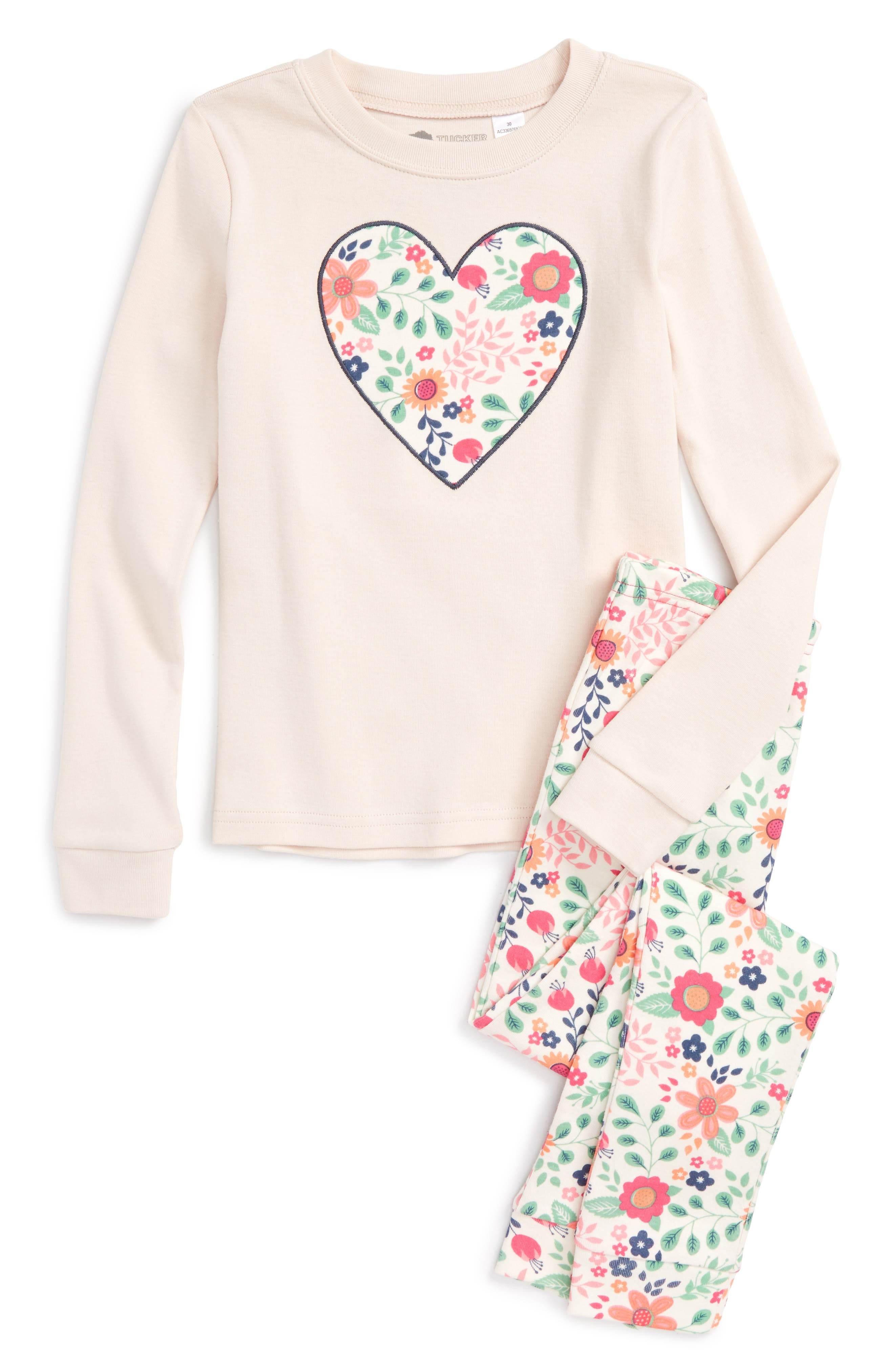 Fitted Two-Piece Pajamas,                             Main thumbnail 1, color,                             Pink Peony Bud Floral Heart
