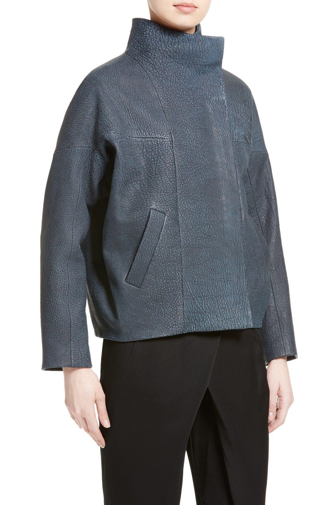 Osita Leather Bomber Jacket,                             Alternate thumbnail 6, color,                             Indigo
