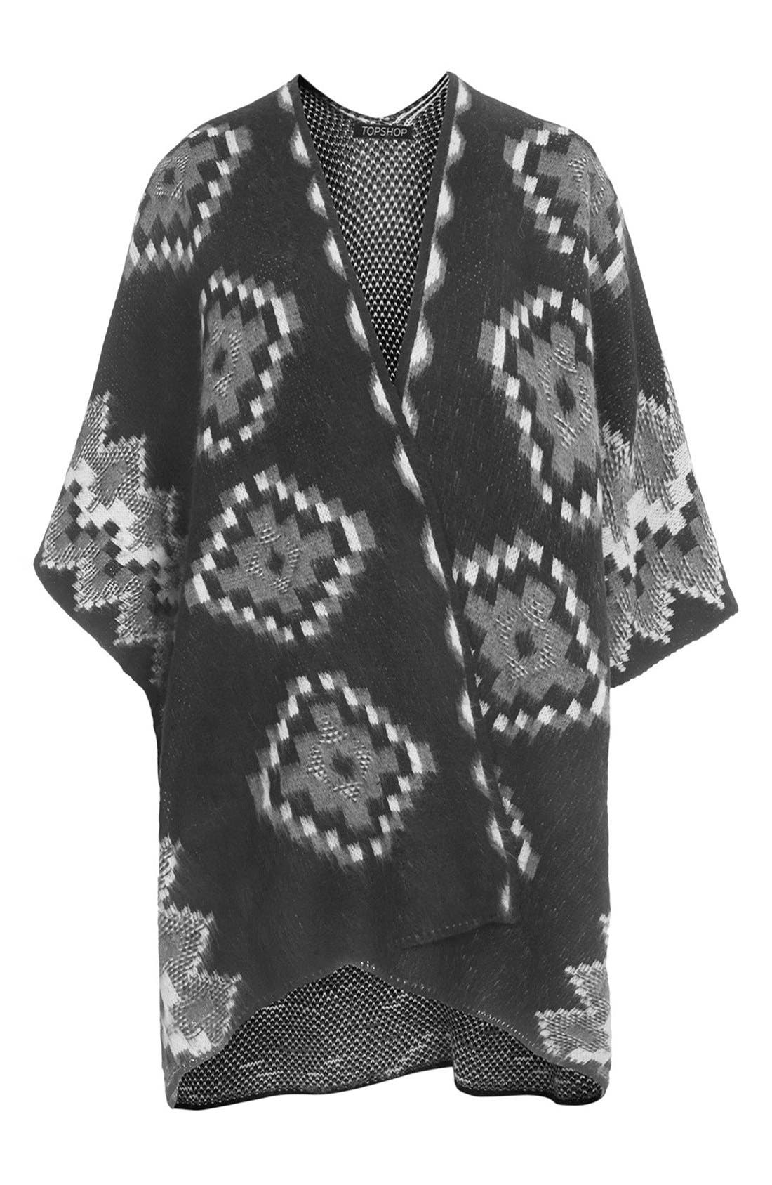 Alternate Image 1 Selected - Topshop Geo Knit Cape