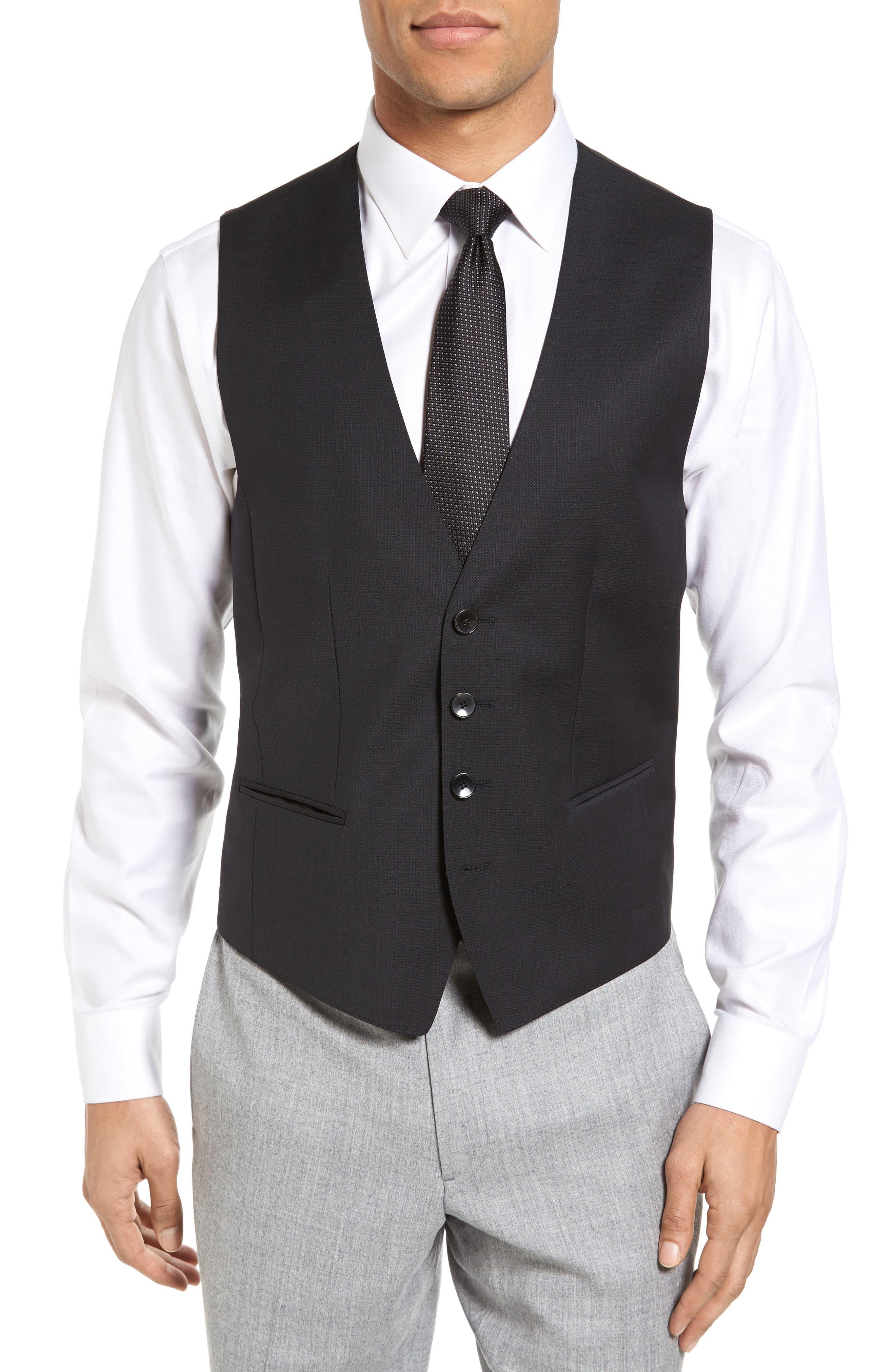Huge Weste Trim Fit Wool Vest,                         Main,                         color, Black