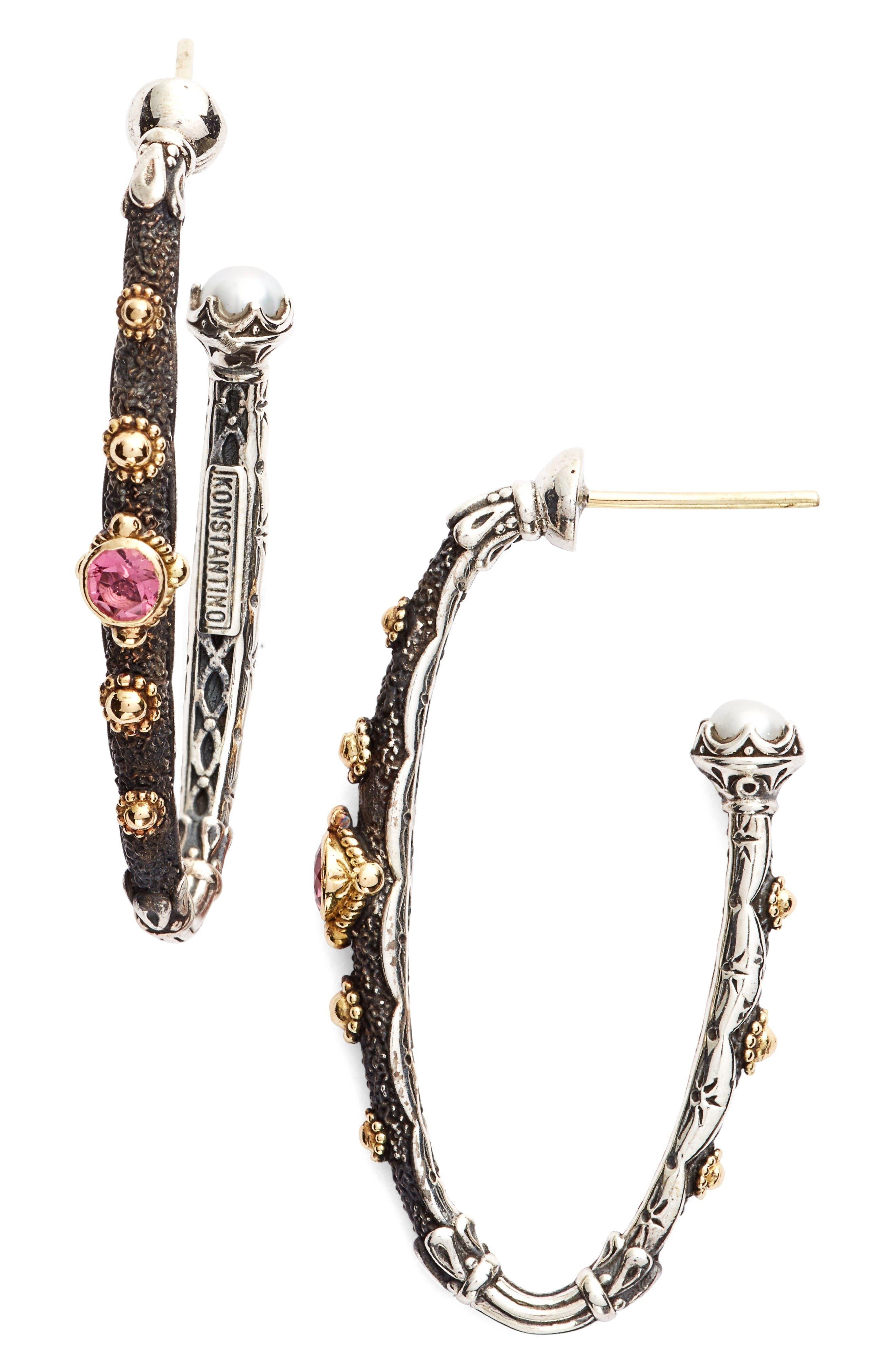 Hoop Earrings,                             Main thumbnail 1, color,                             Pink Tourmaline