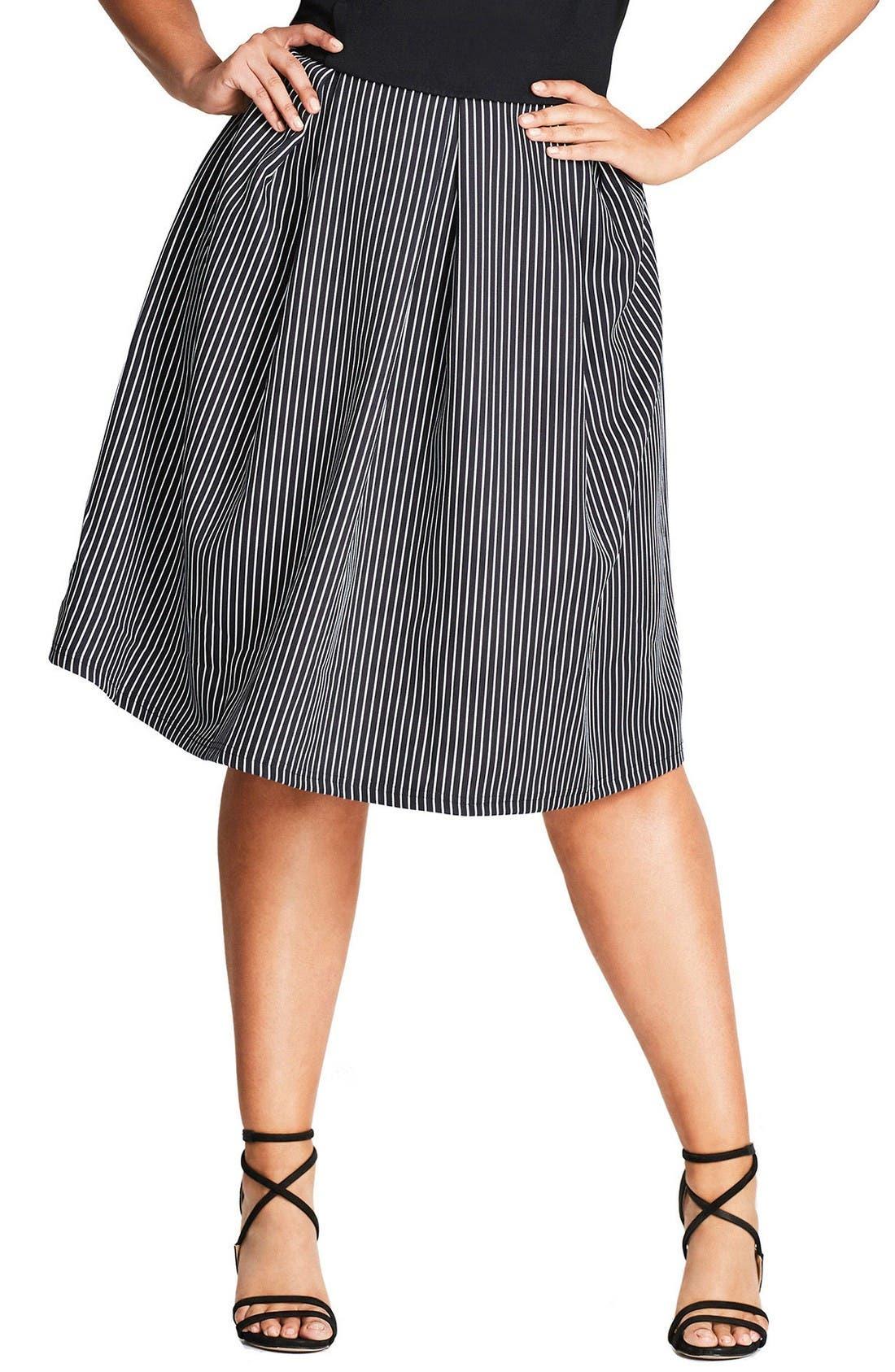 City Chic Flirty Stripe Full Skirt (Plus Size)