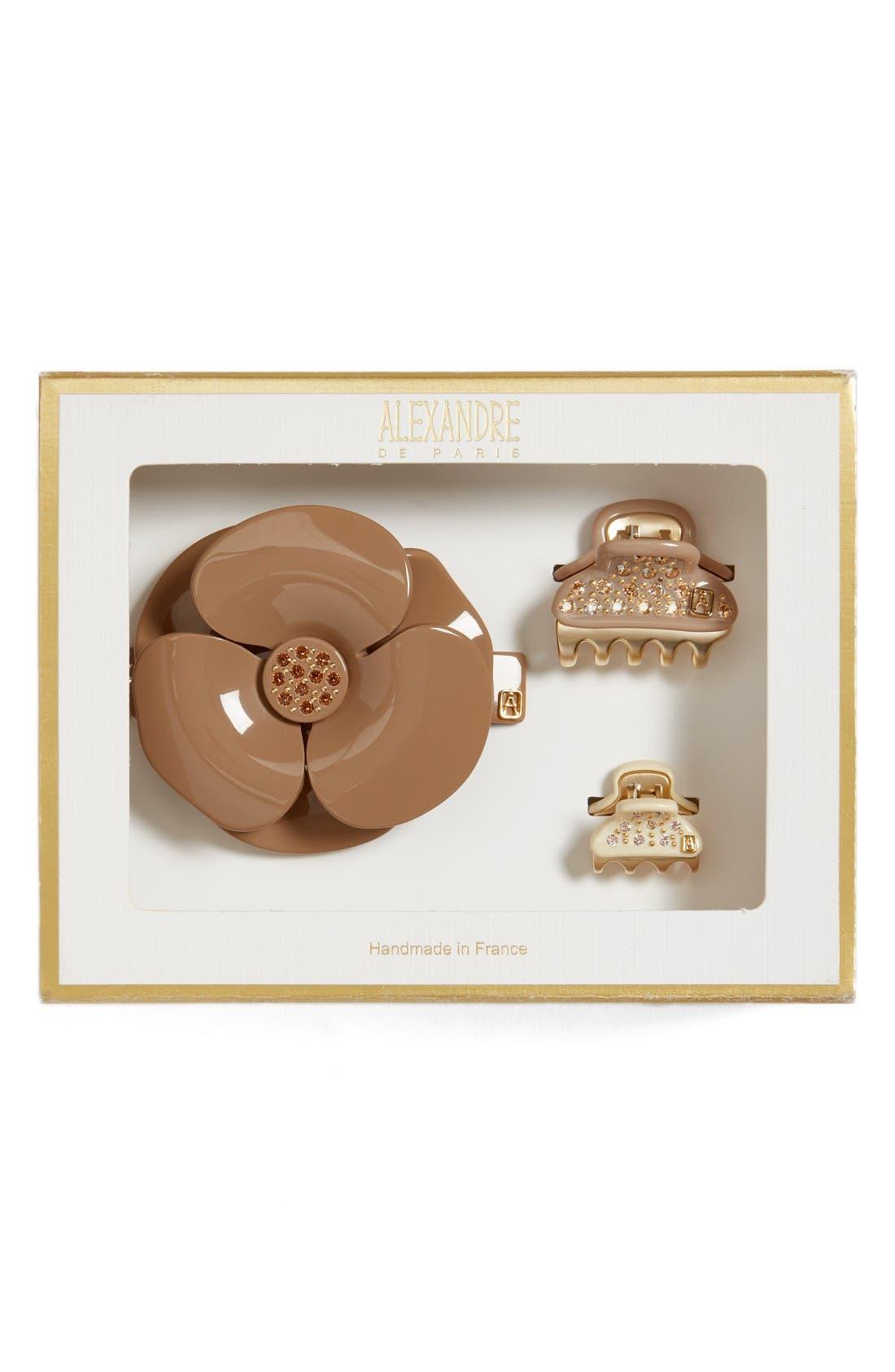 Camelia Barrette & Mini Clips,                         Main,                         color, Beige/ Ivory