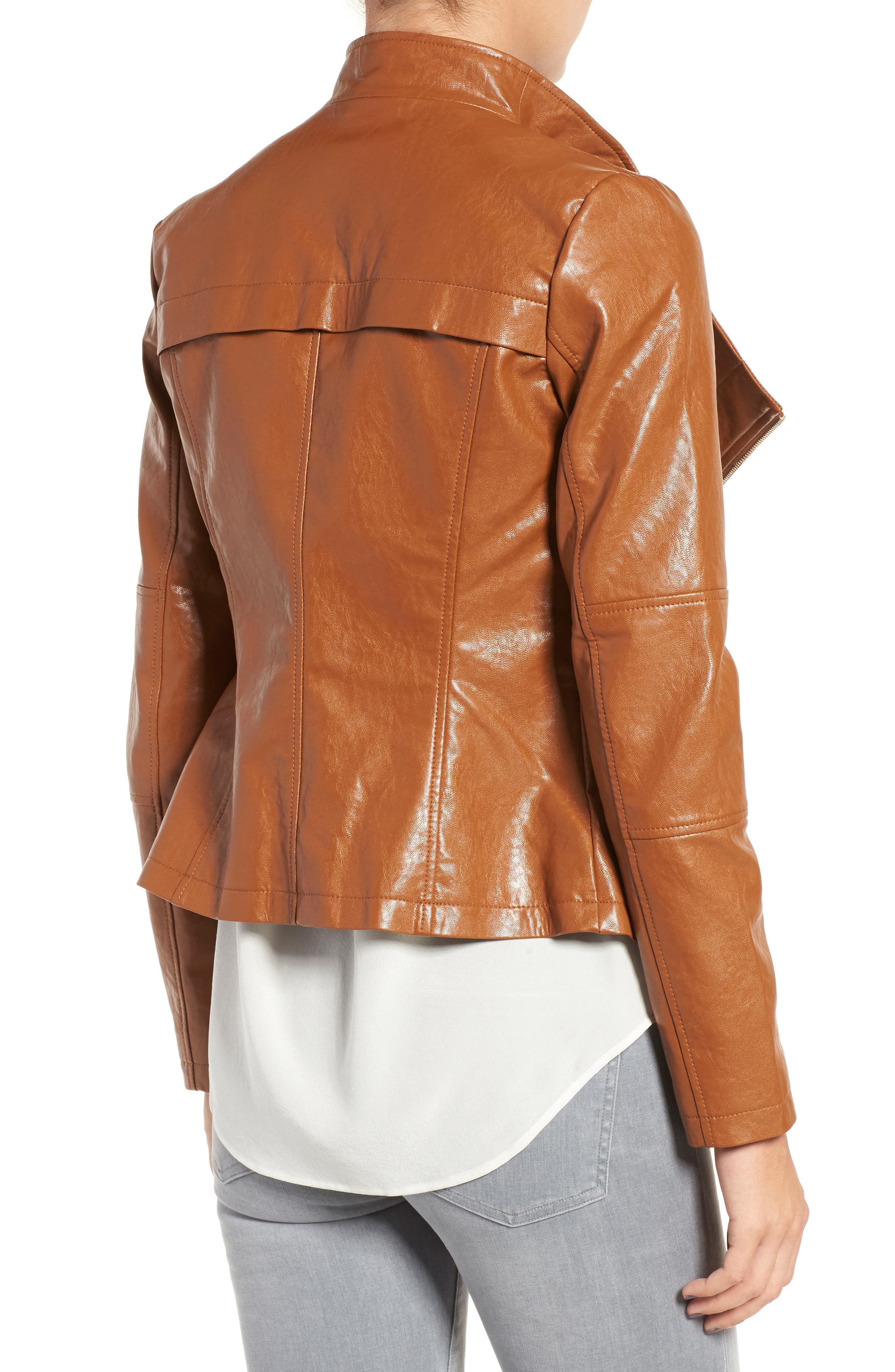 Alternate Image 2  - GUESS Asymmetrical Faux Leather Jacket