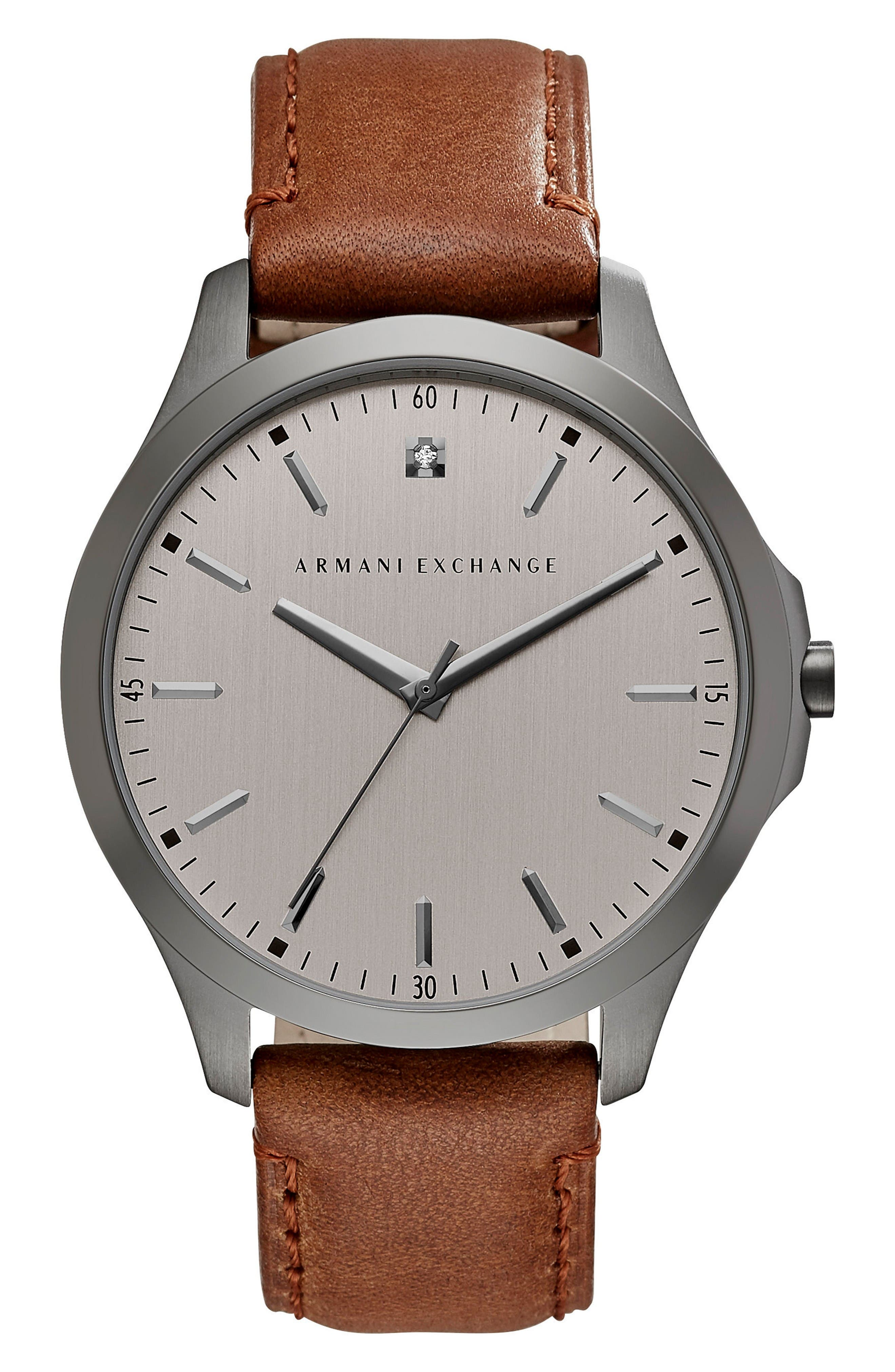 Diamond Accent Leather Strap Watch, 46mm,                         Main,                         color, Grey/ Brown
