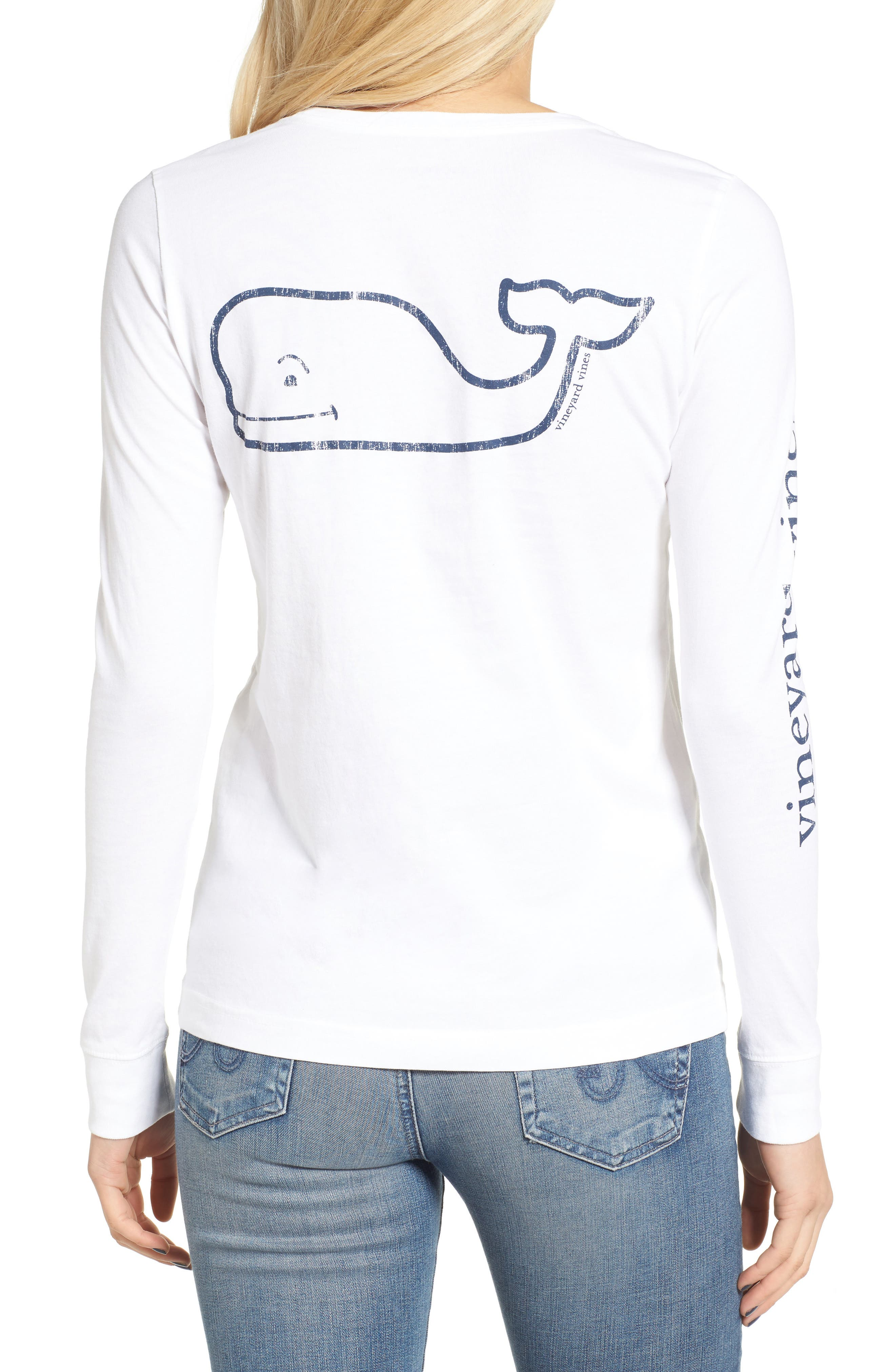 Whale Print Long Sleeve Tee,                             Alternate thumbnail 2, color,                             White Cap