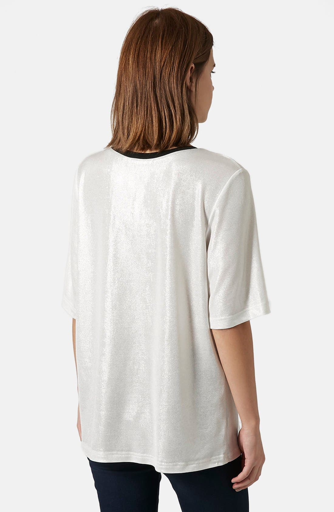Alternate Image 2  - Topshop Oversize Metallic Tee