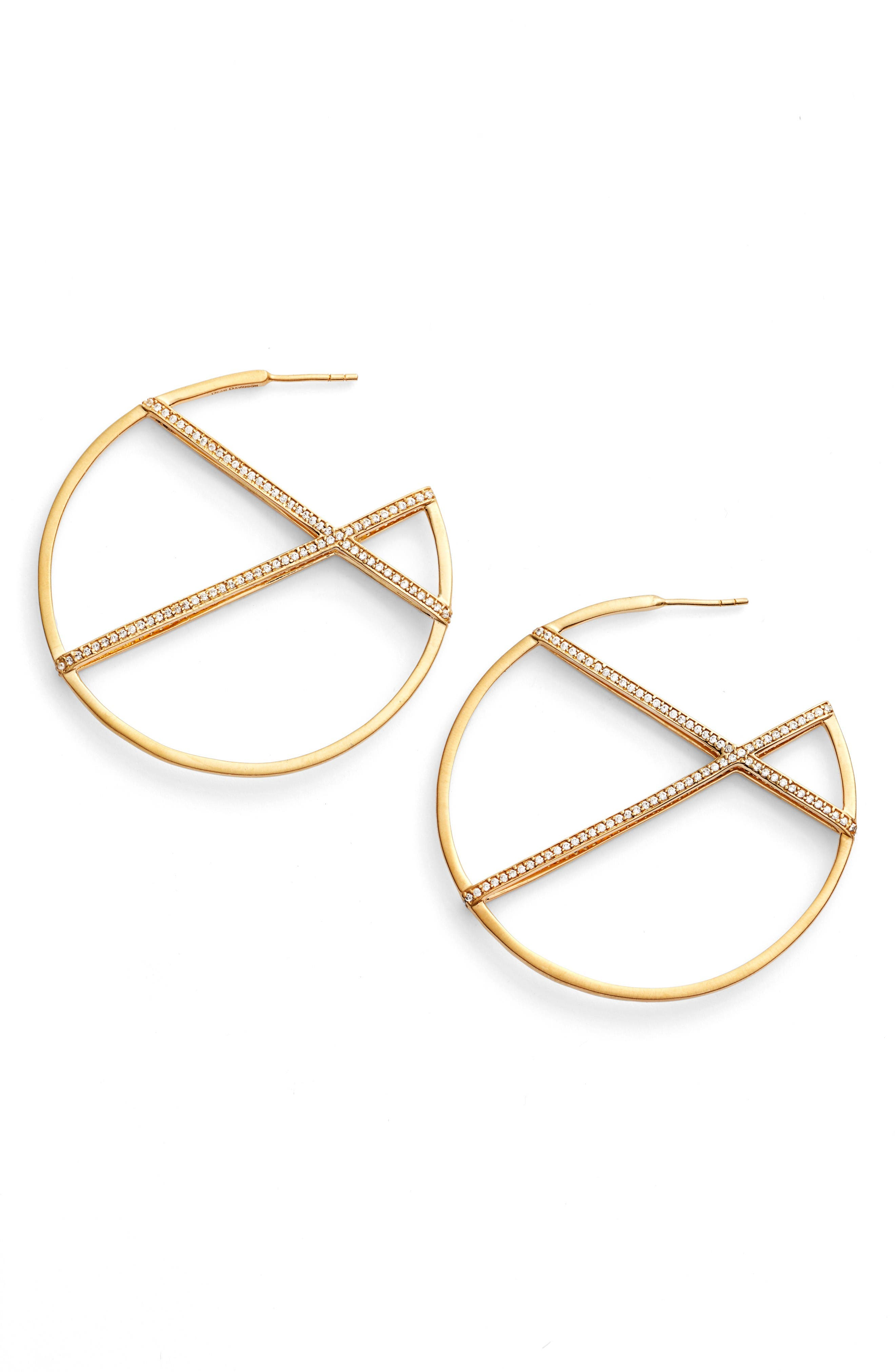 Continuous Hoop Earrings,                         Main,                         color, White Topaz/ Gold