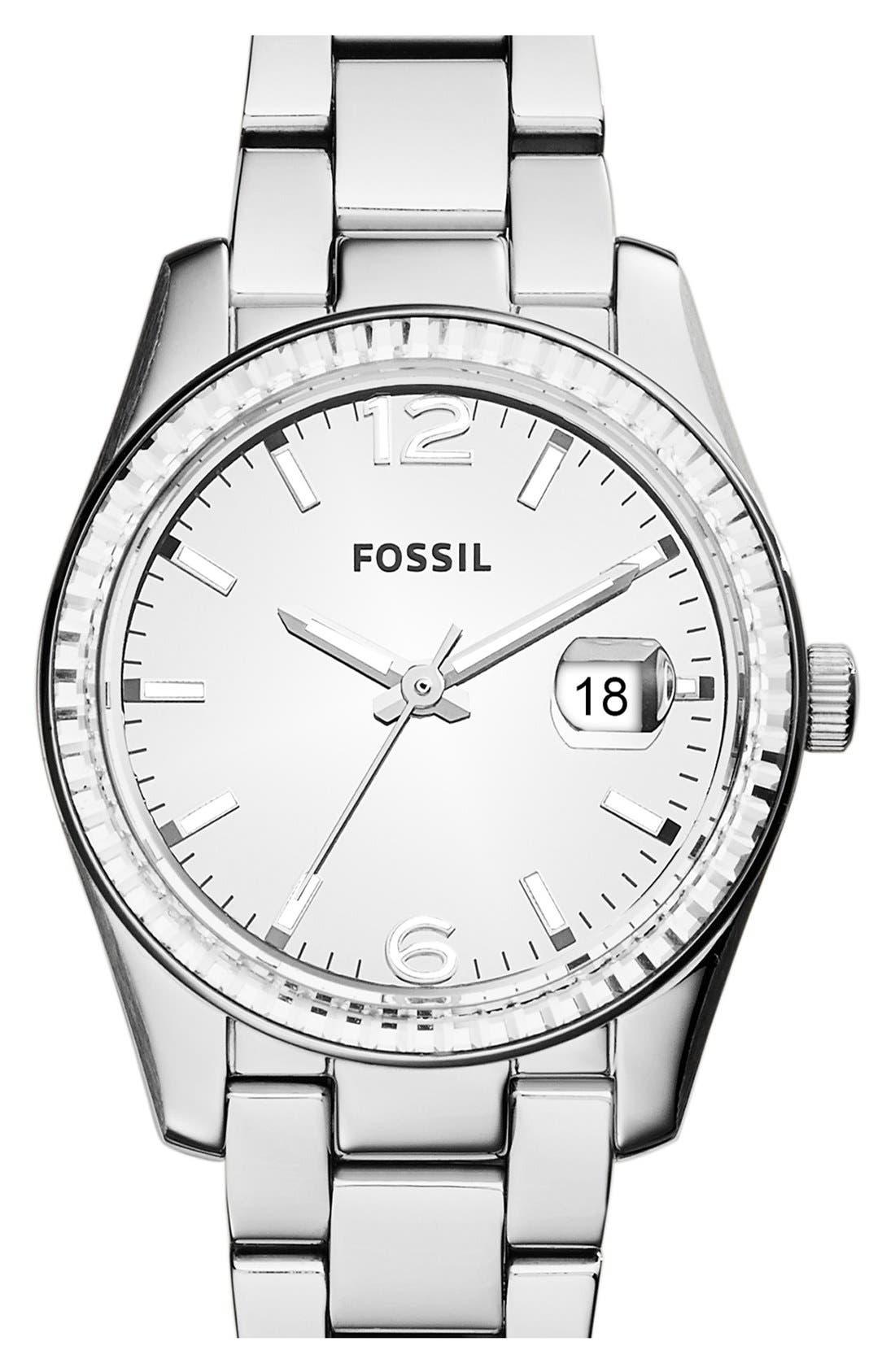 Main Image - Fossil 'Perfect Boyfriend' Mirrored Dial Bracelet Watch, 39mm