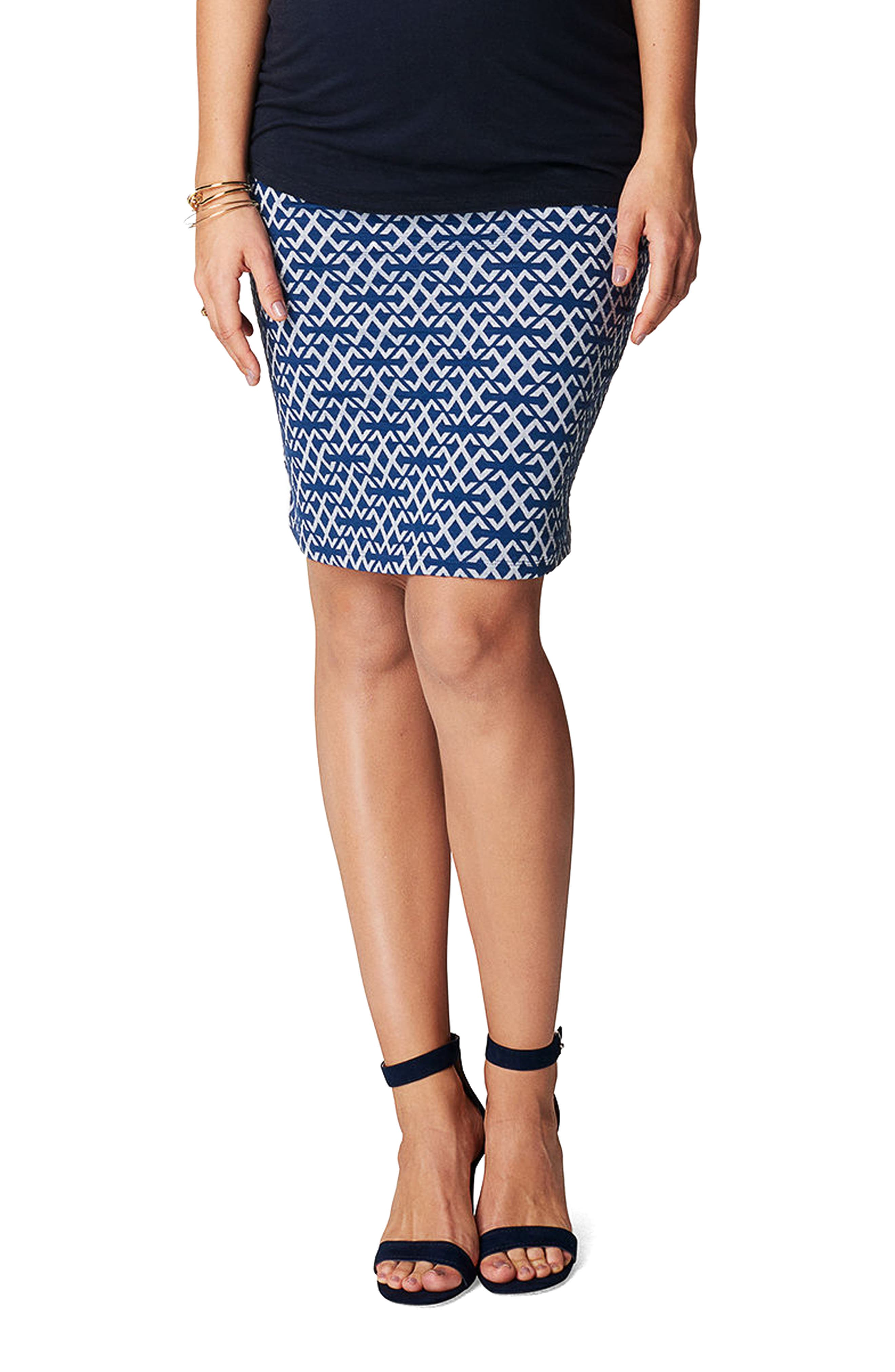 Luna Over the Belly Maternity Skirt,                             Main thumbnail 1, color,                             Blue