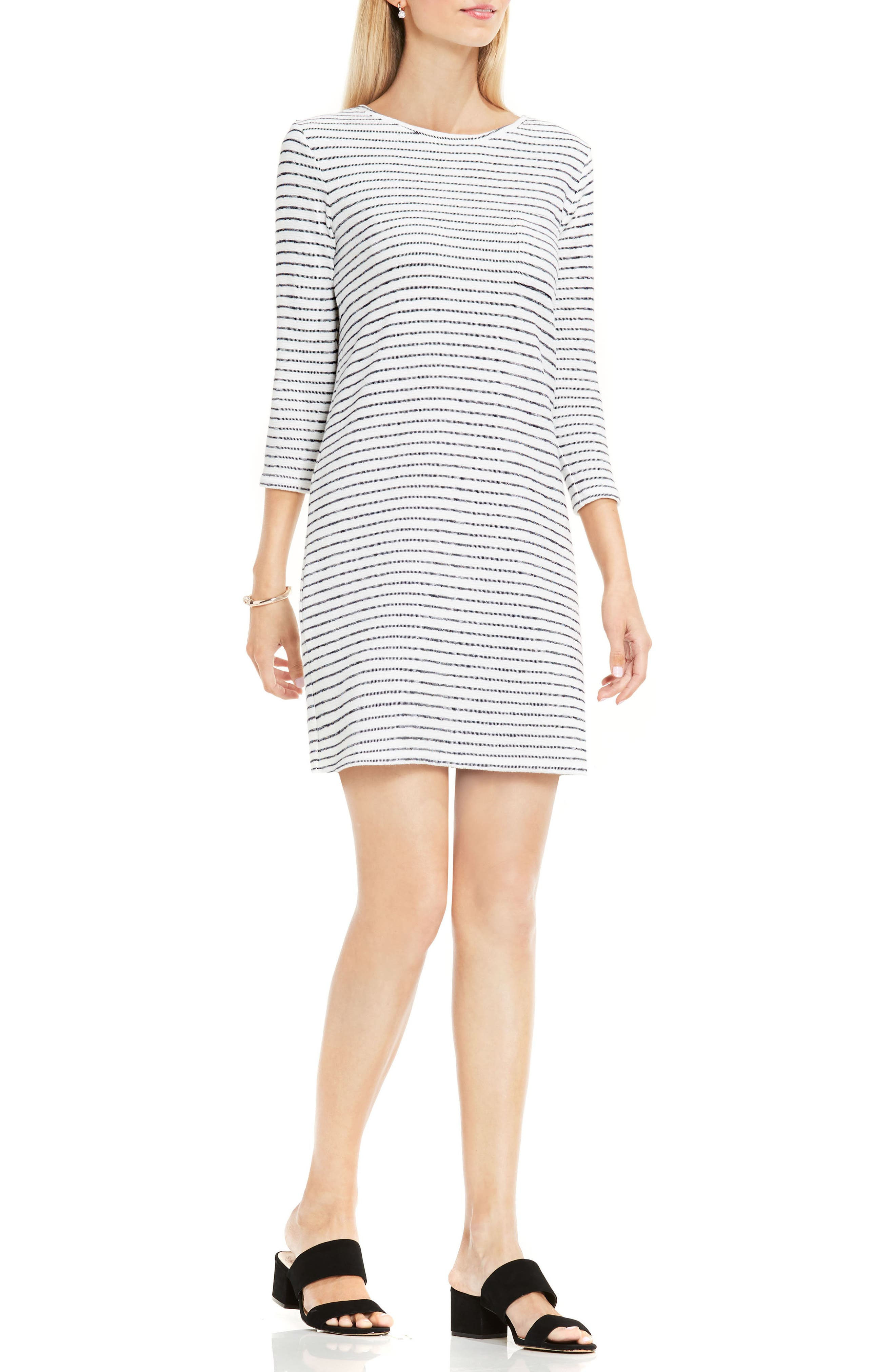 Main Image - Two by Vince Camuto Nautical Stripe Button Back Terry Dress