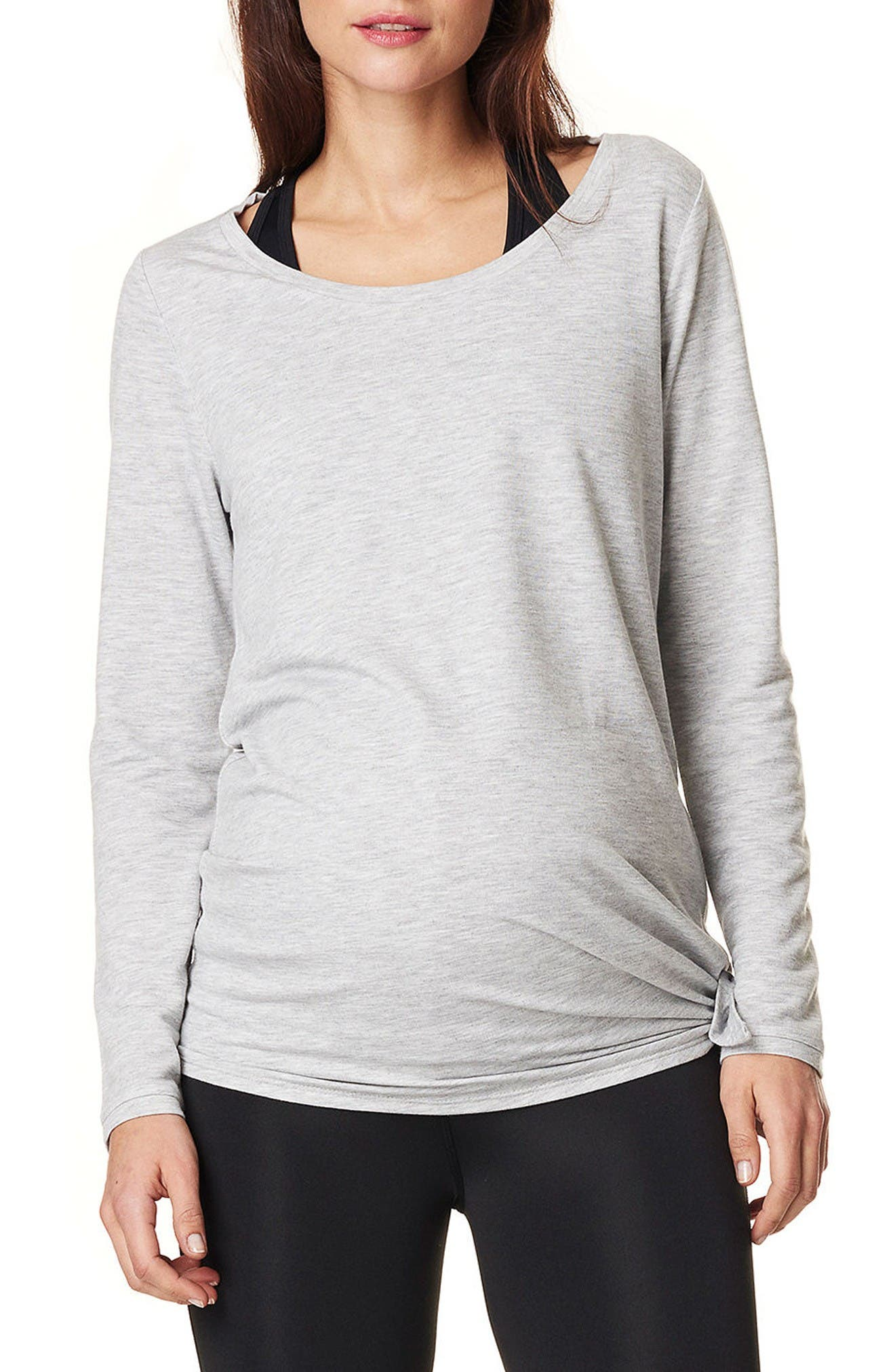 Heather Athletic Maternity Top,                         Main,                         color, Grey Melange