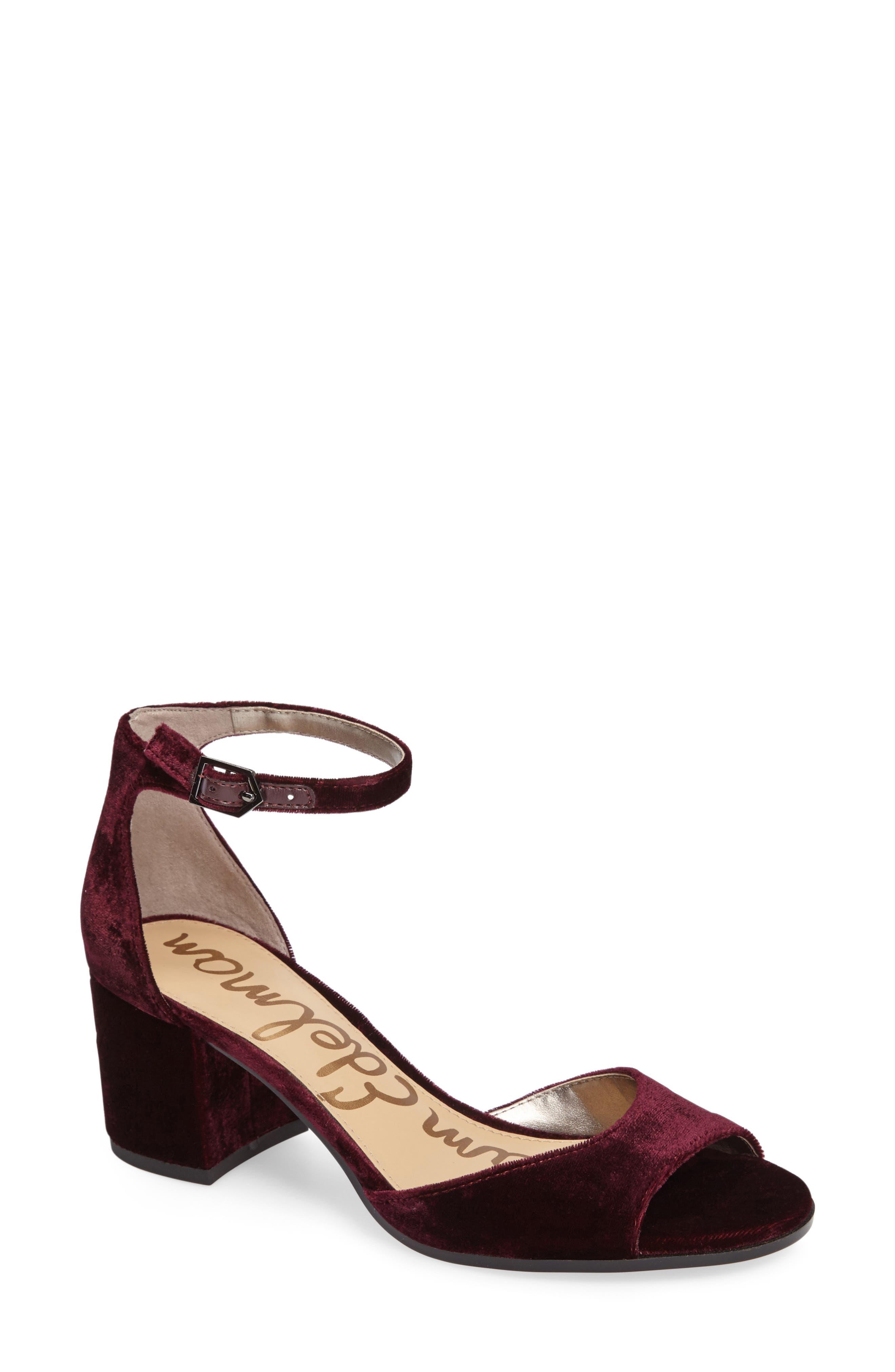 Susie d'Orsay Ankle Strap Sandal,                         Main,                         color, Sangria Velvet