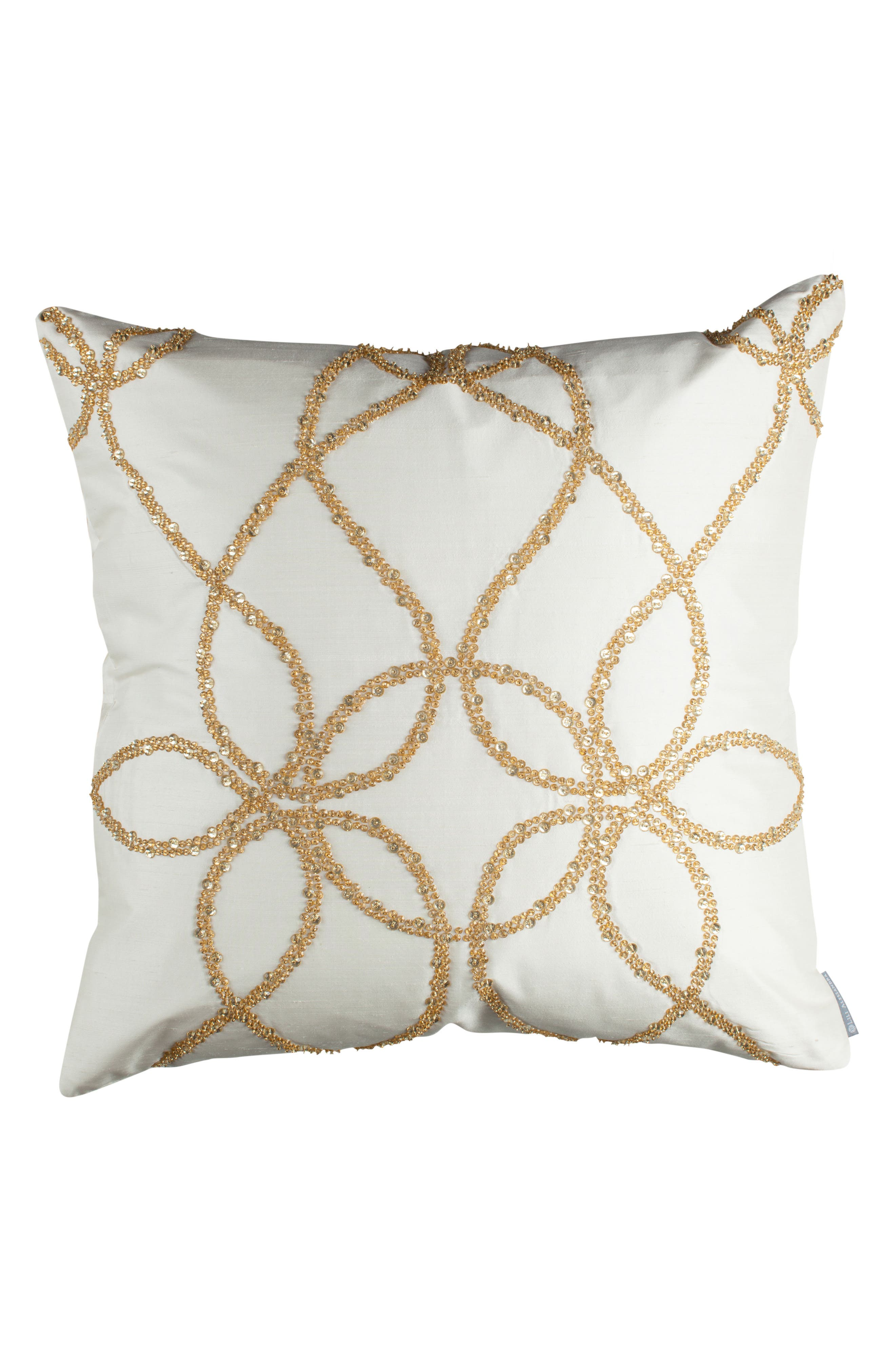Silk Accent Pillow,                             Main thumbnail 1, color,                             Ivory