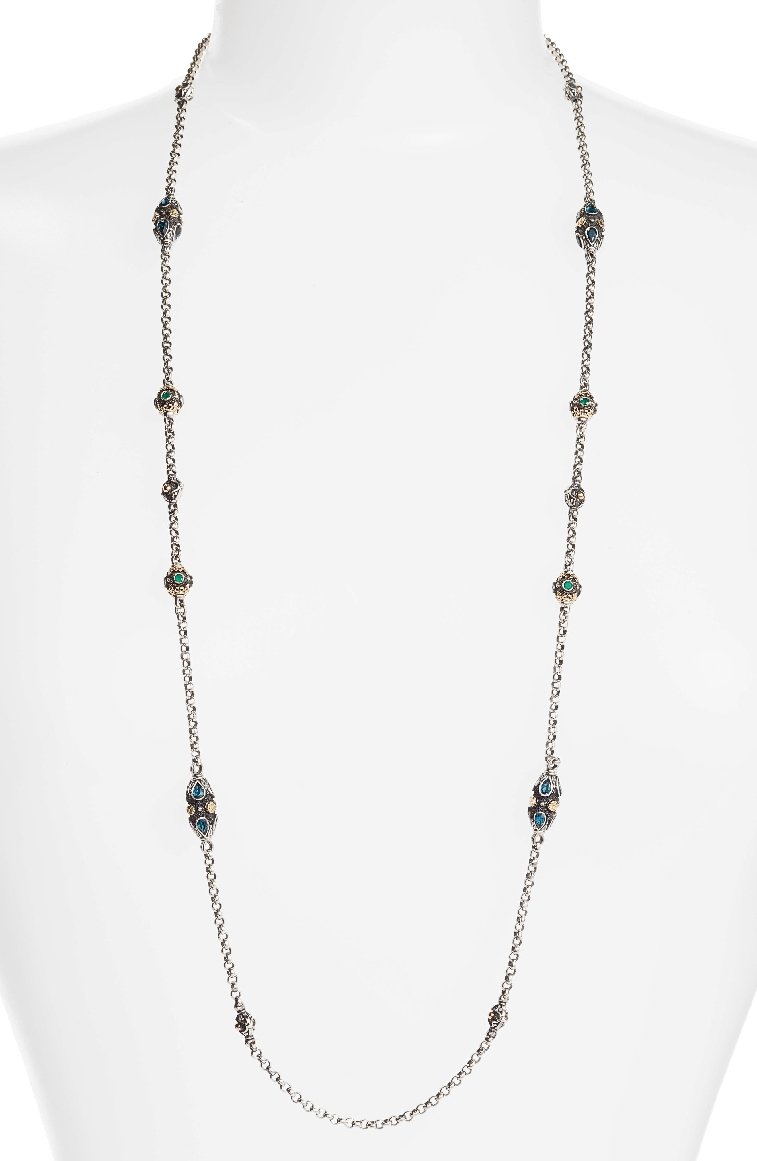 Nemesis Long Station Necklace,                         Main,                         color, Jade/ London Blue Topaz