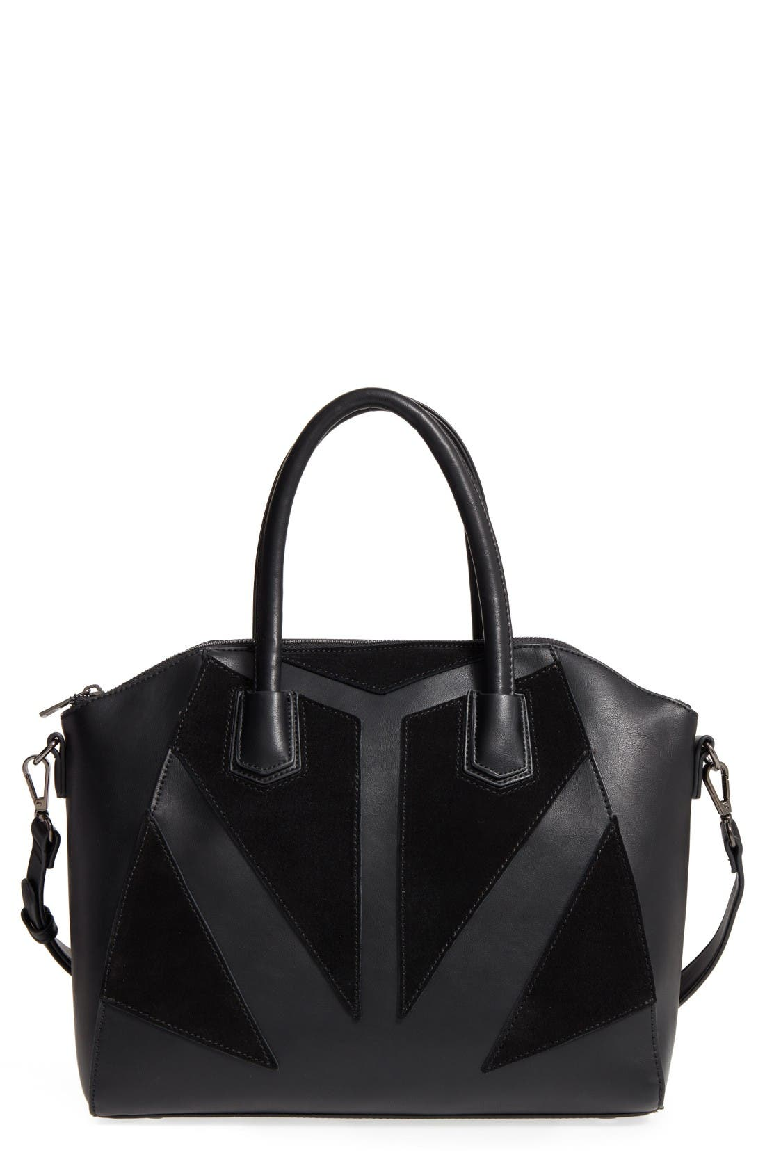 Main Image - Sole Society Rosamund Faux Leather and Faux Suede Satchel