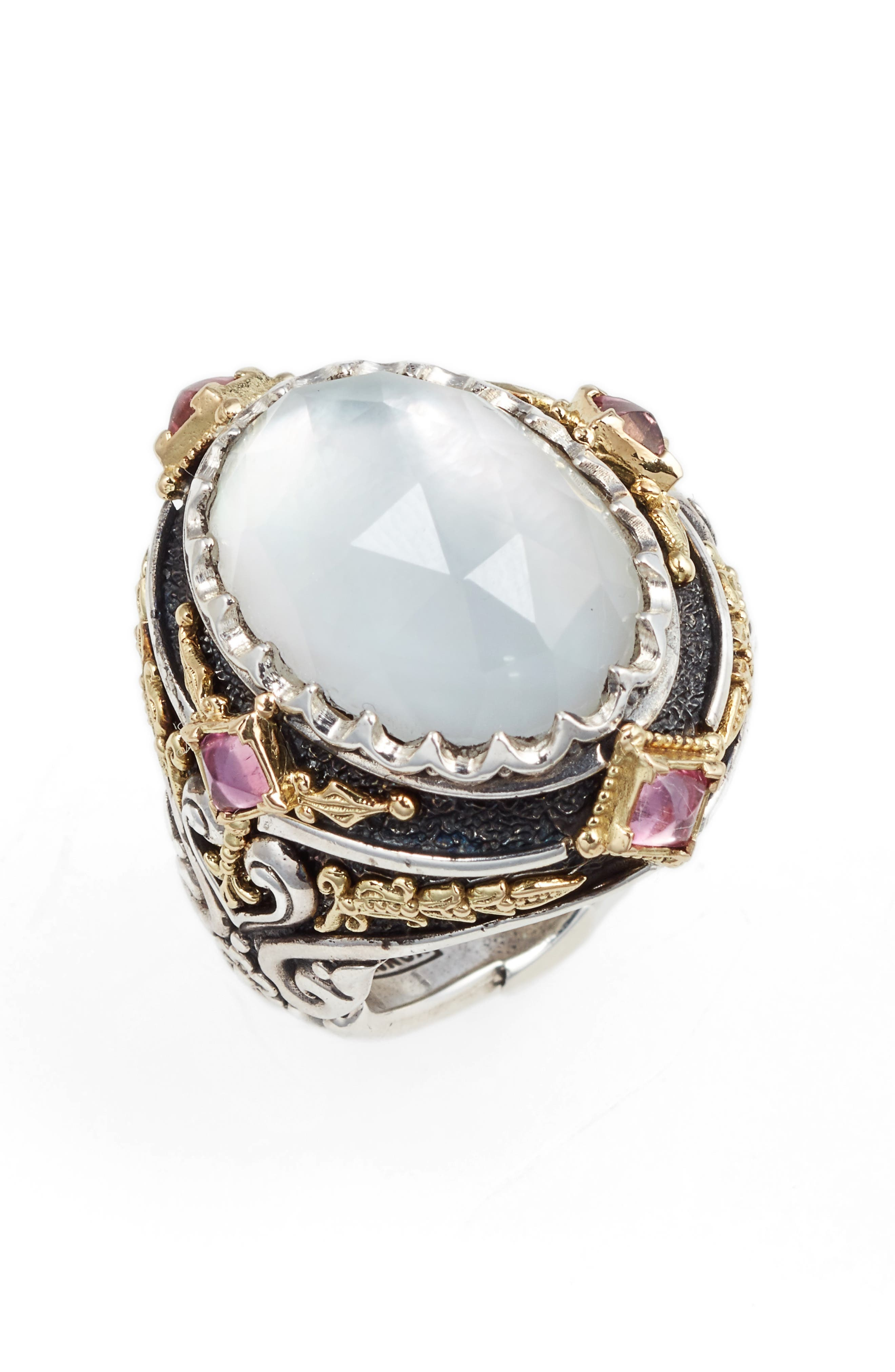 Konstantino North-South Mother-of-Pearl Ring with Pink Crystal Quartz Over Sapphire & Tourmaline CYROy
