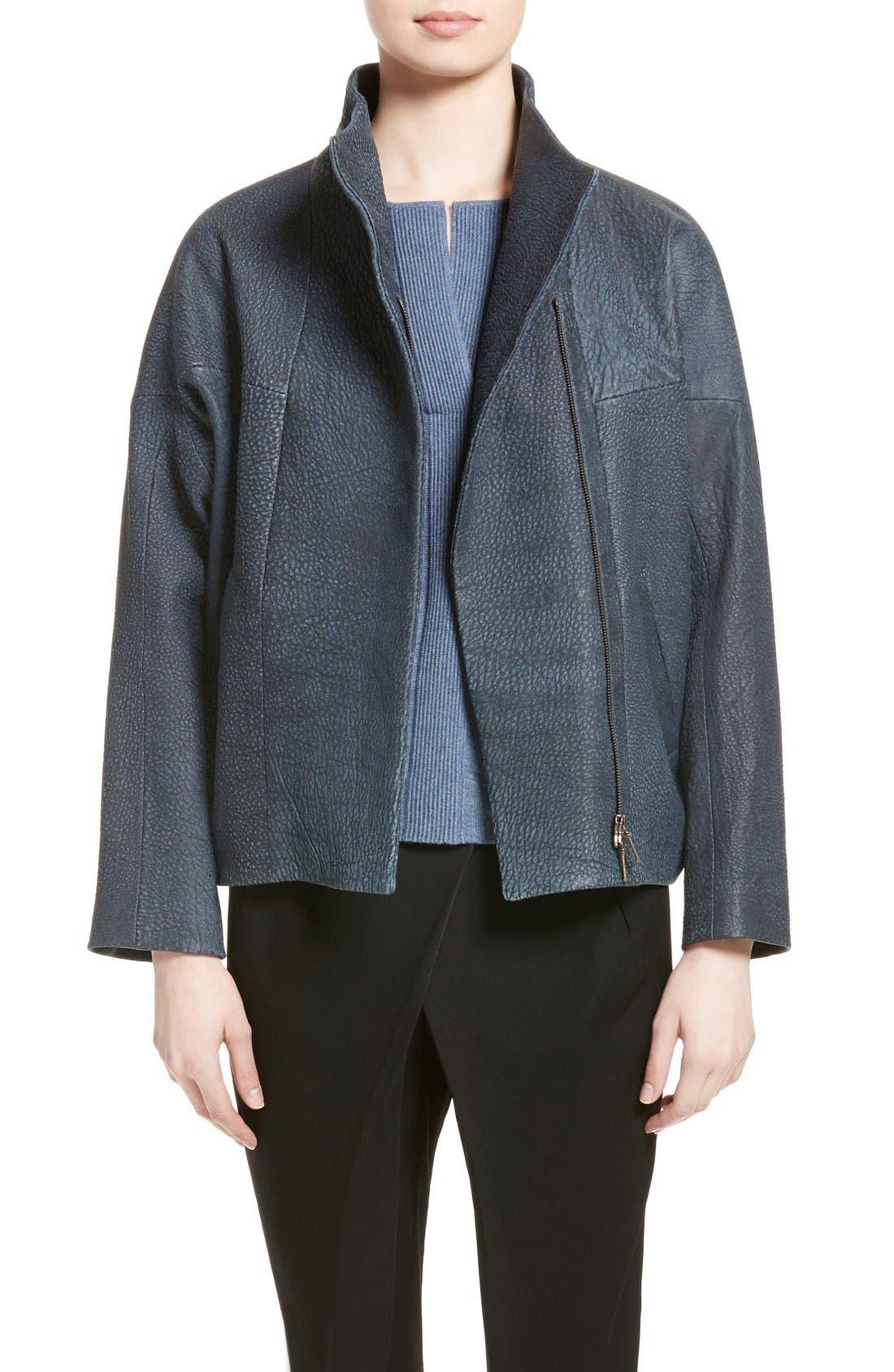 Osita Leather Bomber Jacket,                         Main,                         color, Indigo