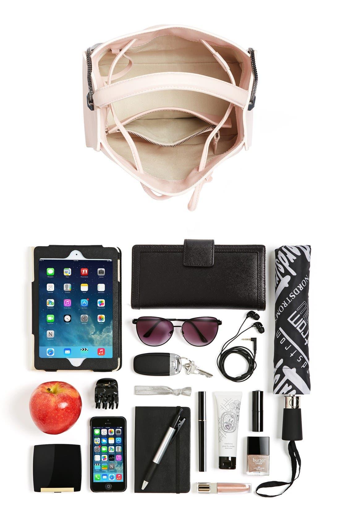 Mini Soleil Leather Bucket Bag,                             Alternate thumbnail 7, color,                             Light Pink