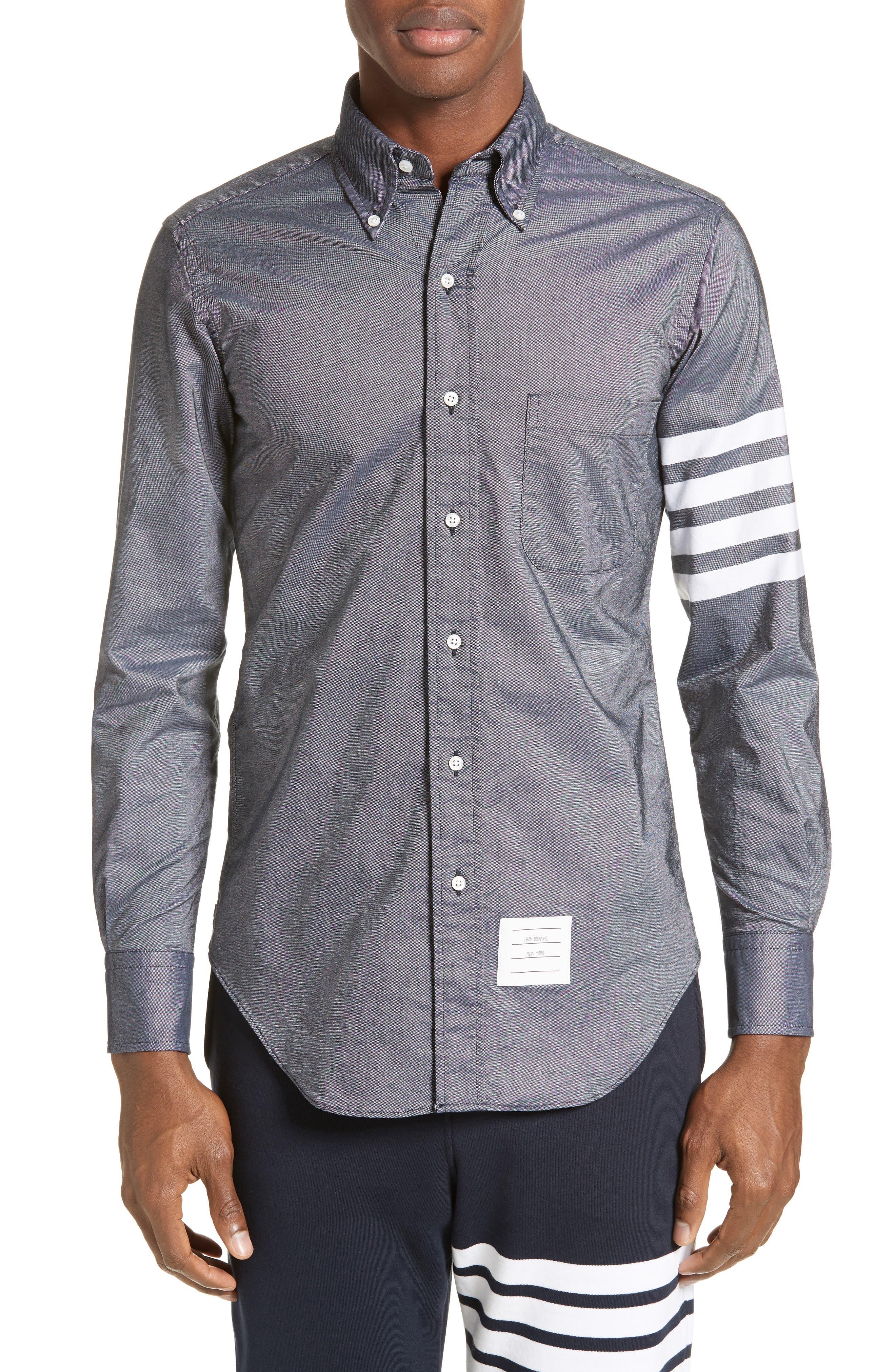 Main Image - Thom Browne Trim Fit Classic 4-Bar Oxford Shirt