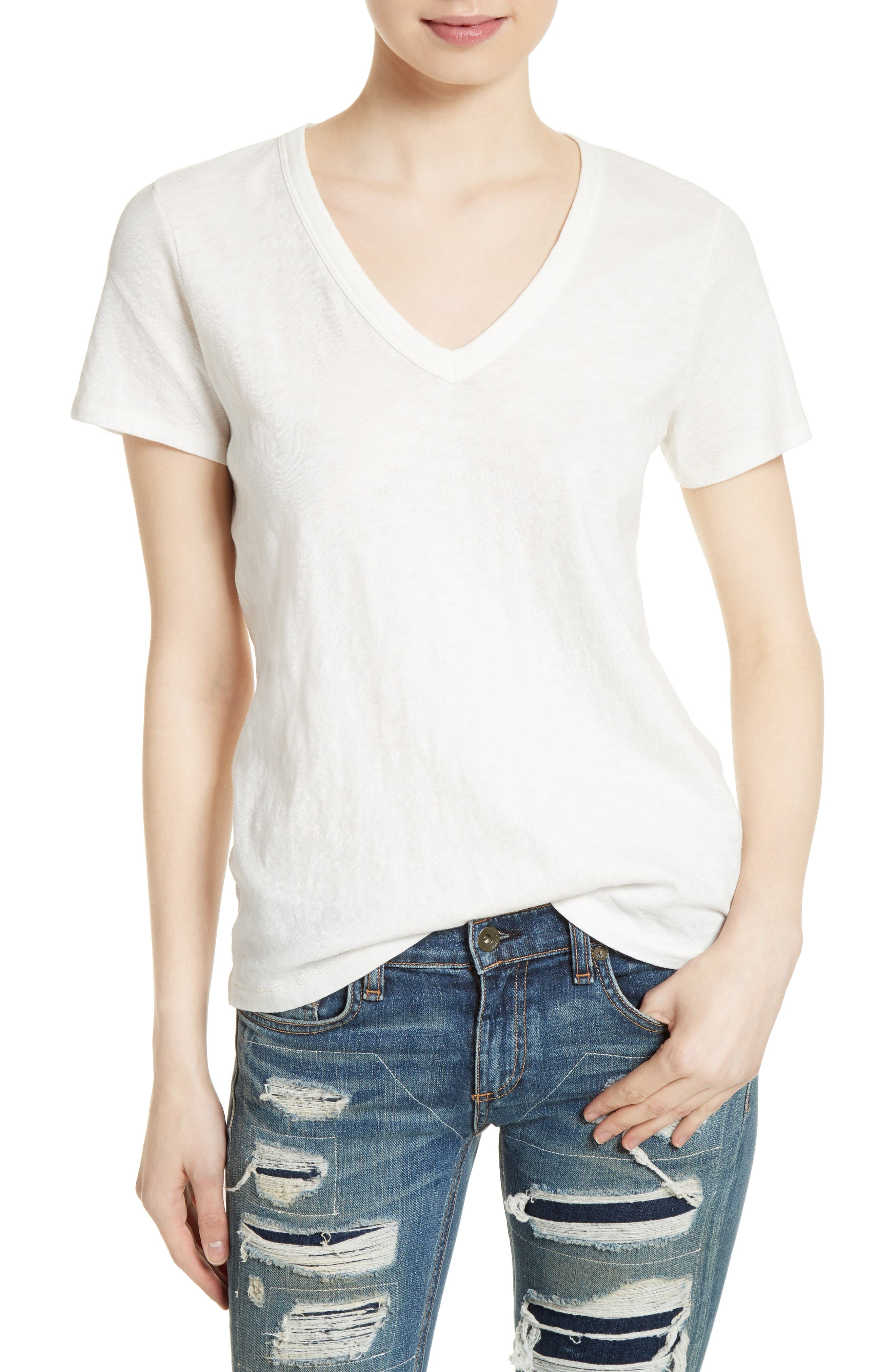 The Vee Tee,                             Main thumbnail 1, color,                             Bright White