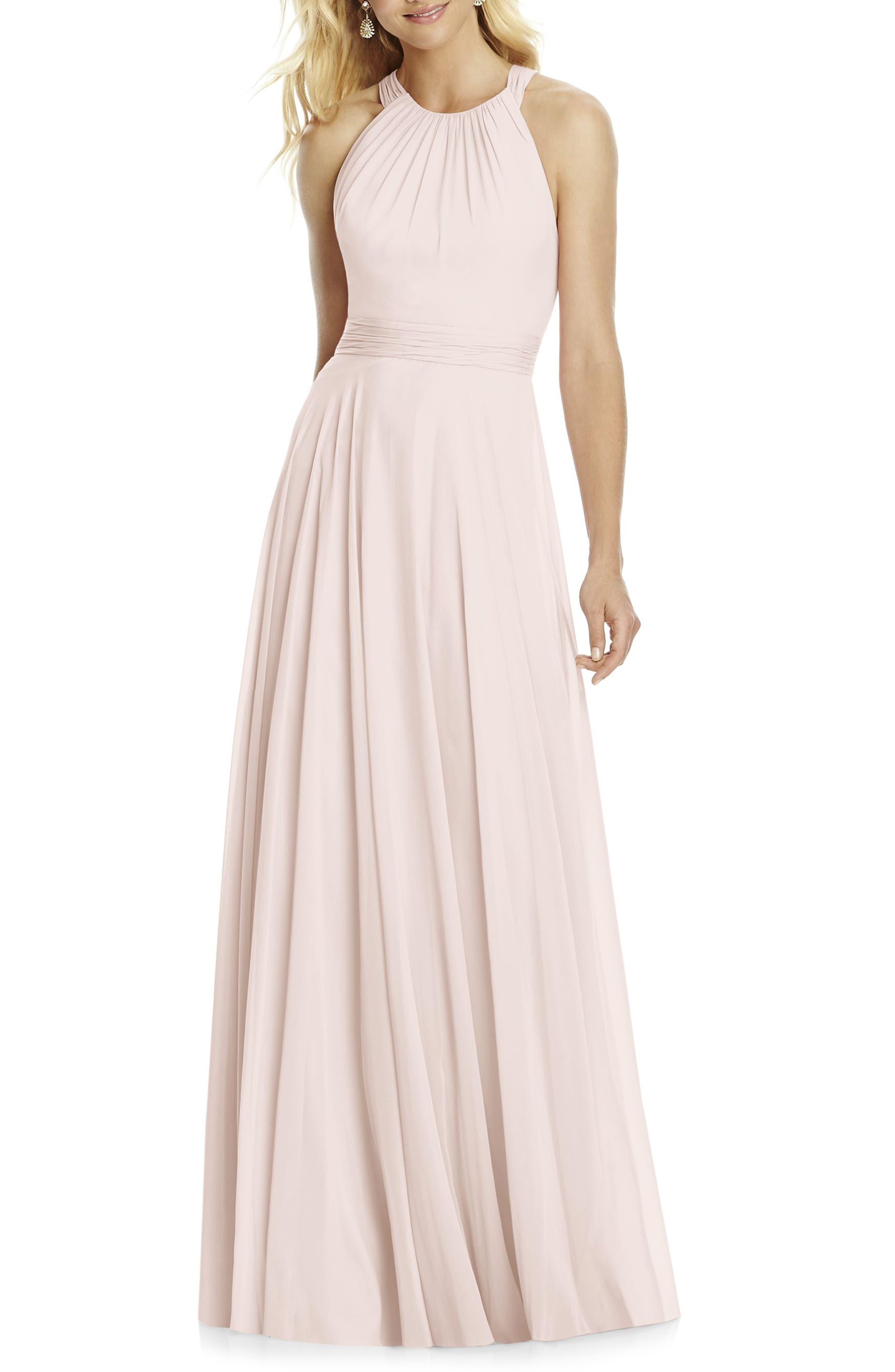 Chiffon A-Line Gown,                         Main,                         color, Blush
