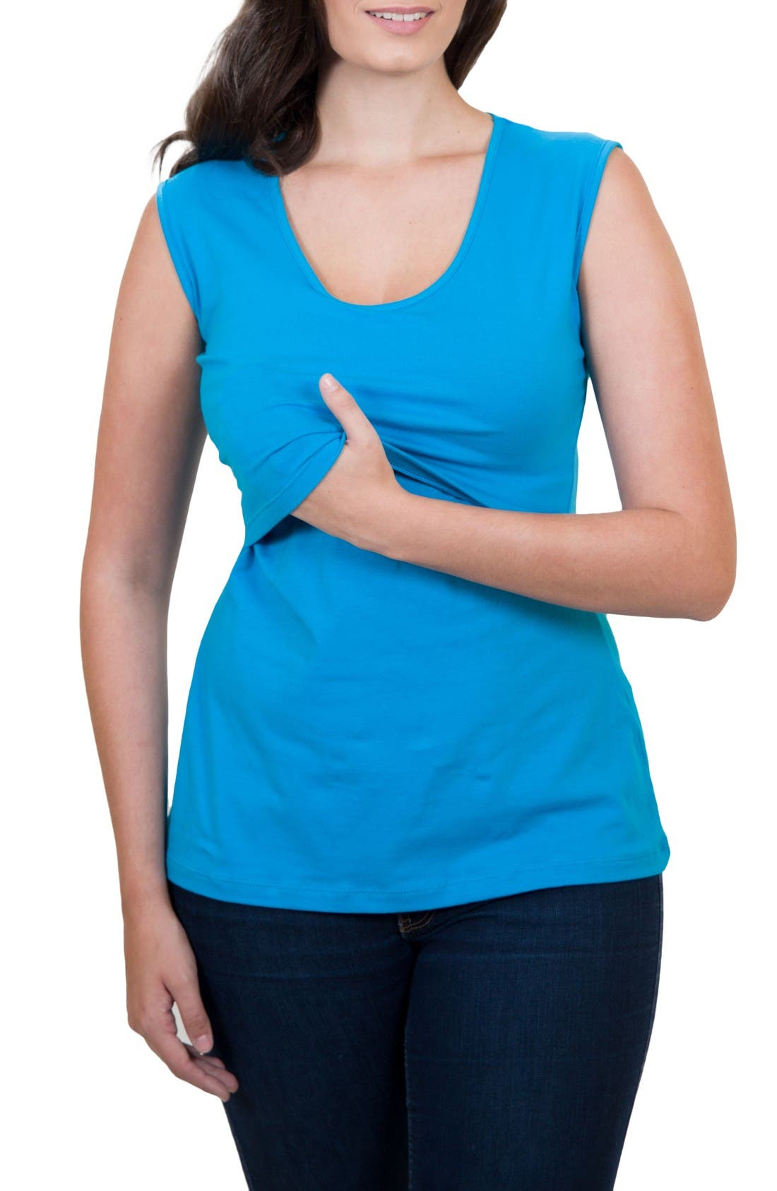 Mamawear Scoop Neck Nursing Tank,                             Alternate thumbnail 4, color,                             Turquoise