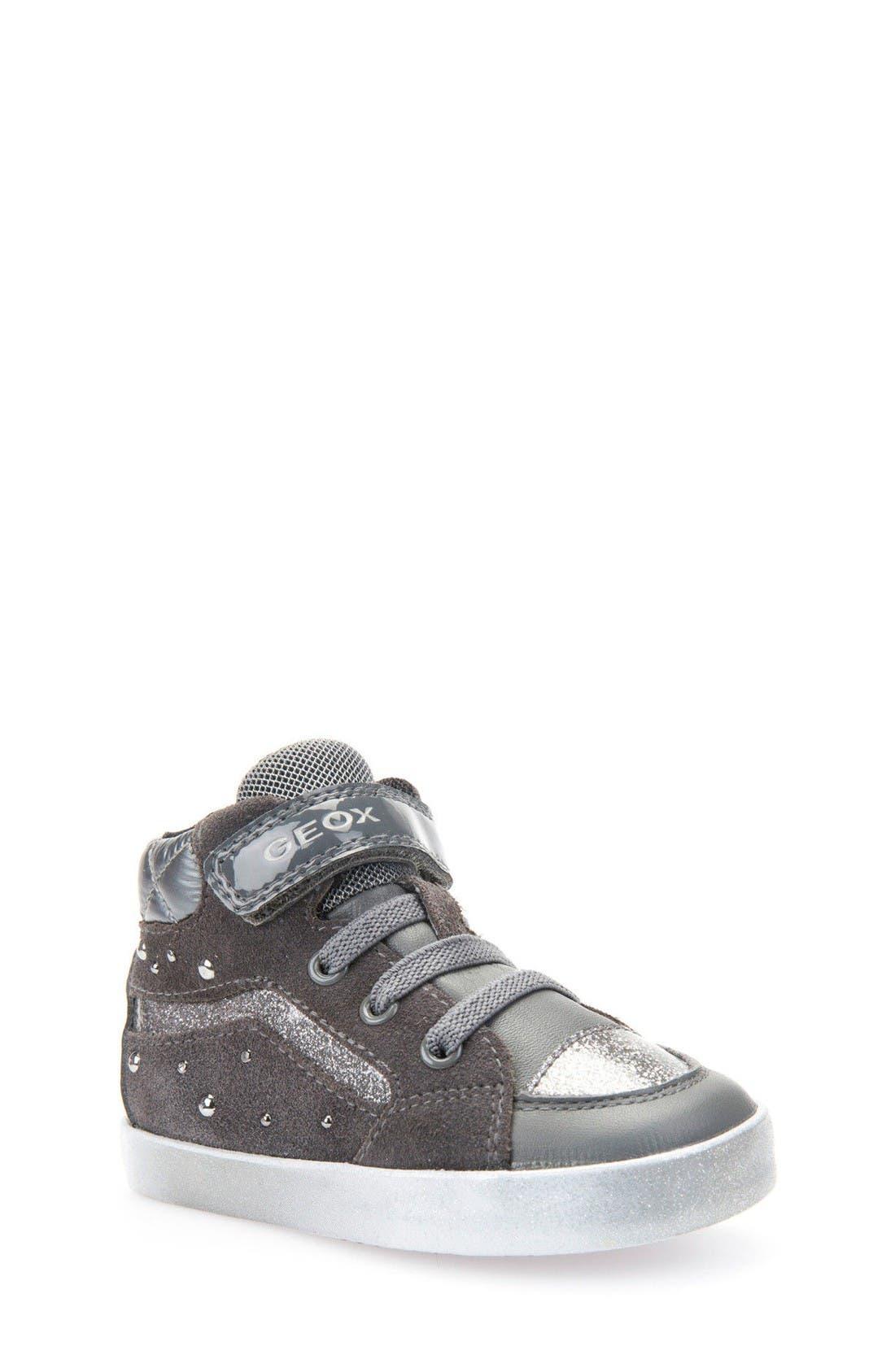 Kiwi Studded High Top Sneaker,                             Main thumbnail 1, color,                             Dark Grey